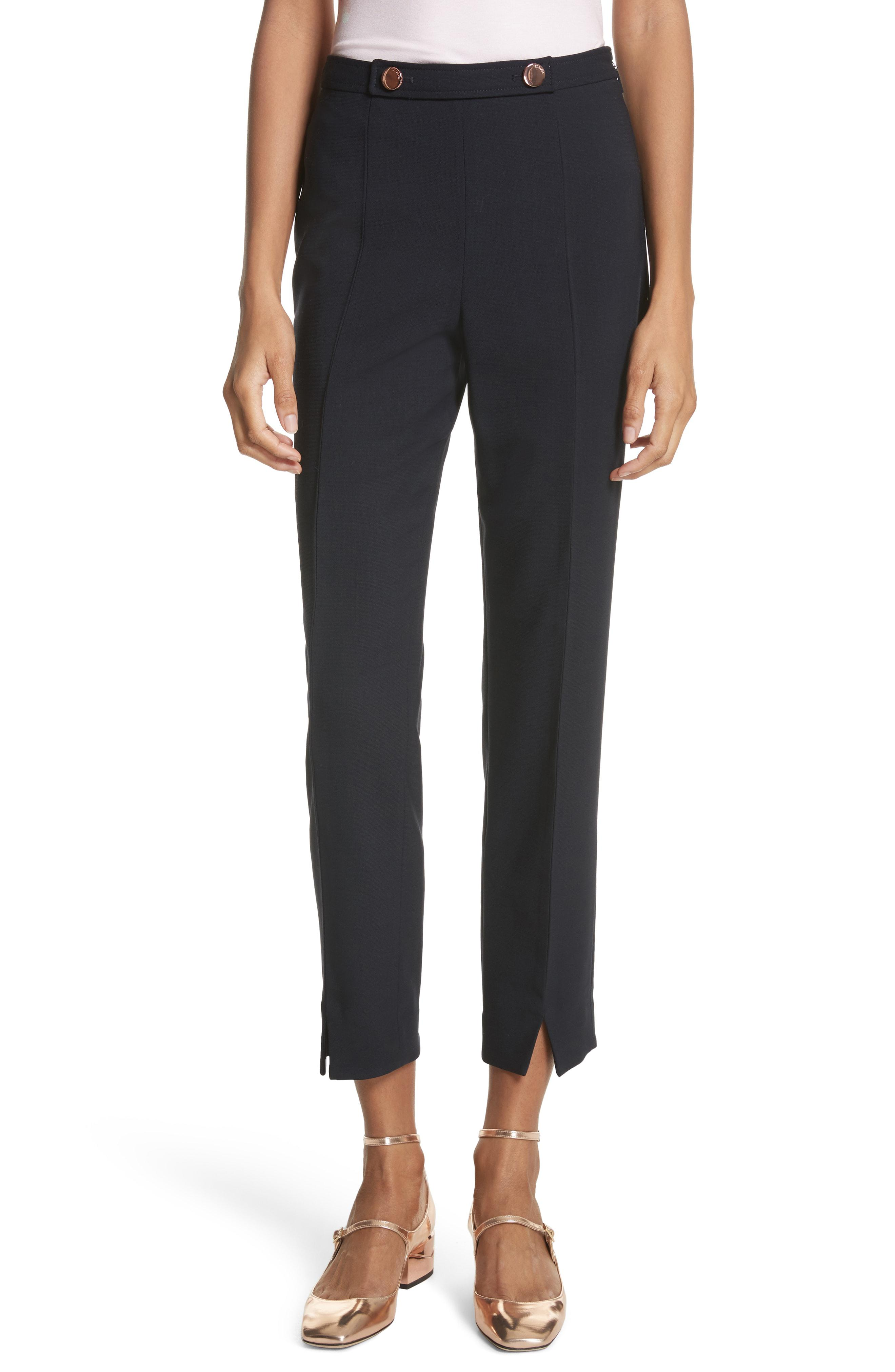 b5a3cced8b65 Lyst - Ted Baker Ted Working Title Front Slit Skinny Trousers in Blue