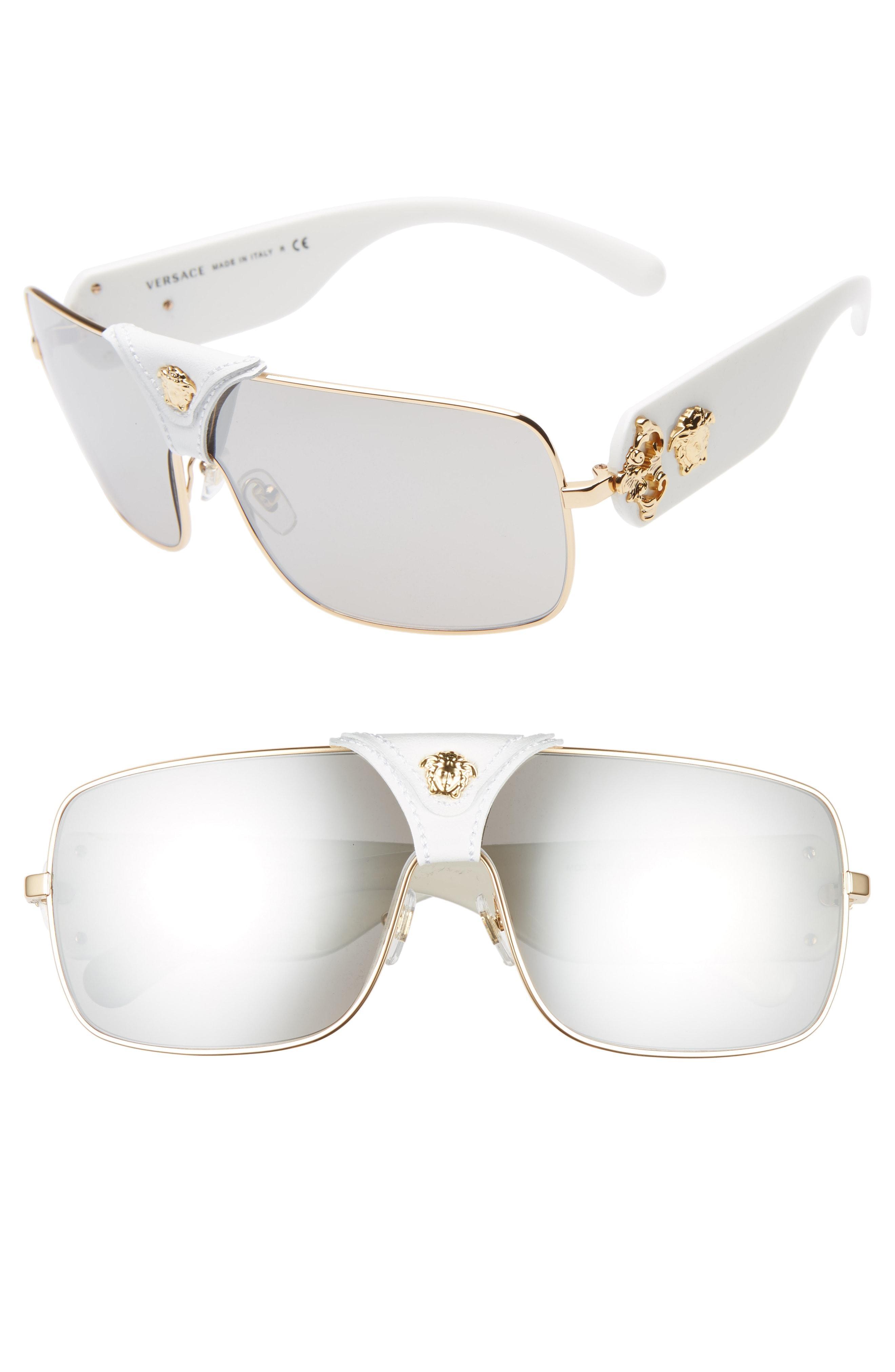 c80bfe295e27 Lyst - Versace 145mm Mirrored Shield Sunglasses in White