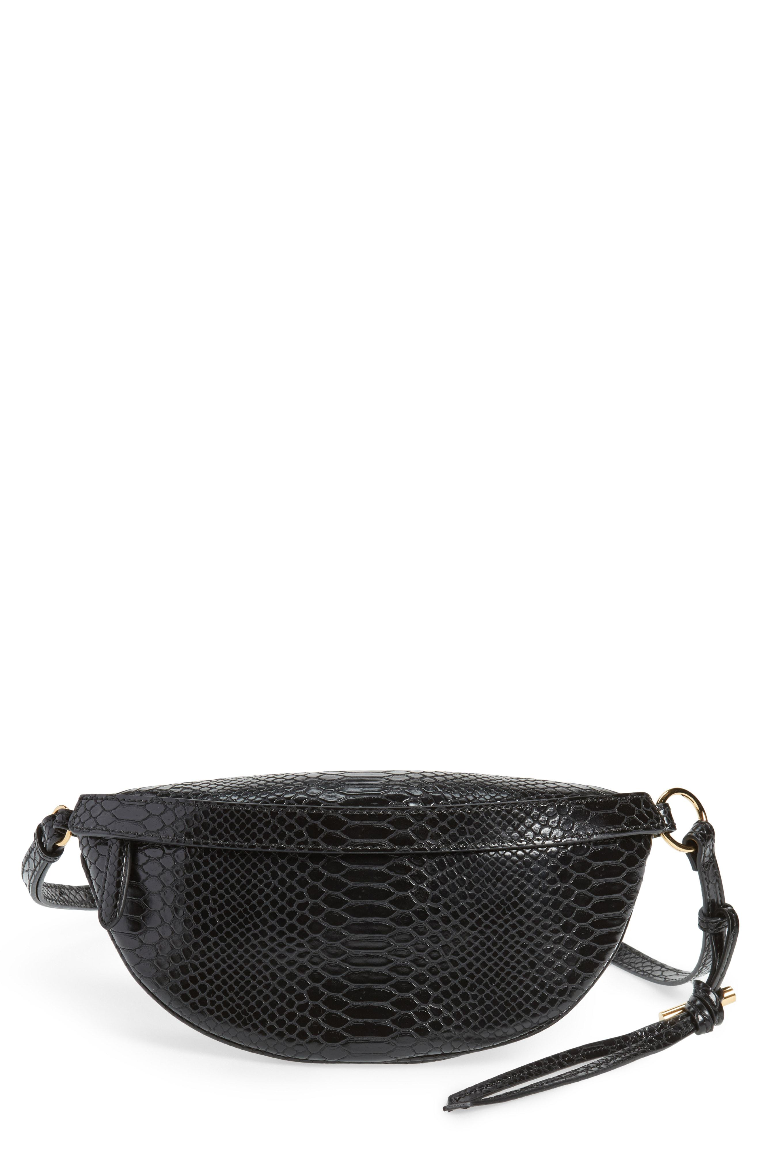 55e12e31c5ee32 Stella McCartney Alter Snake Faux Leather Fanny Pack in Black - Lyst