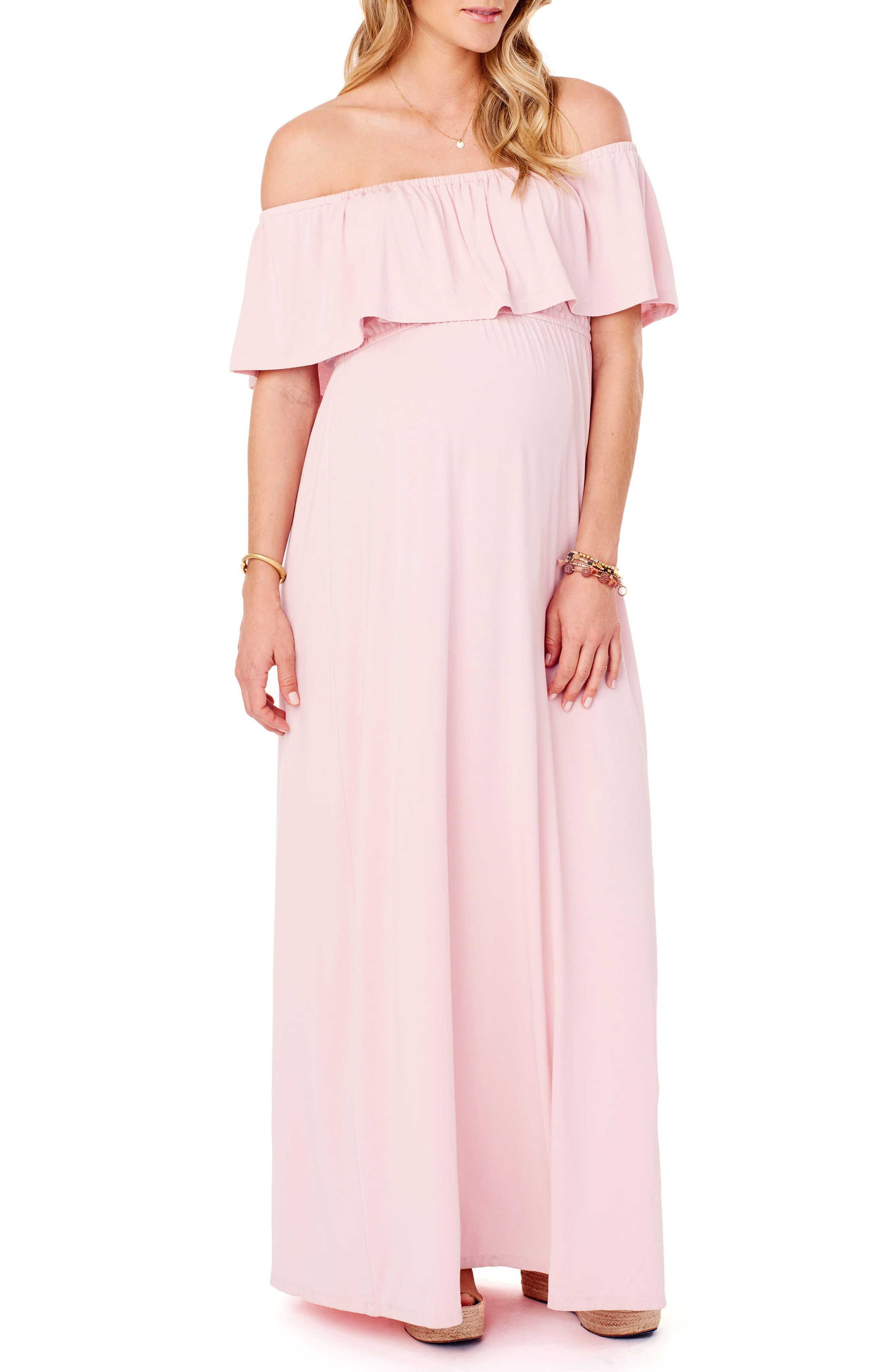 e2ee98bc7d044 Ingrid & Isabel. Women's Pink Maternity Off - The - Shoulder Maxi Dress
