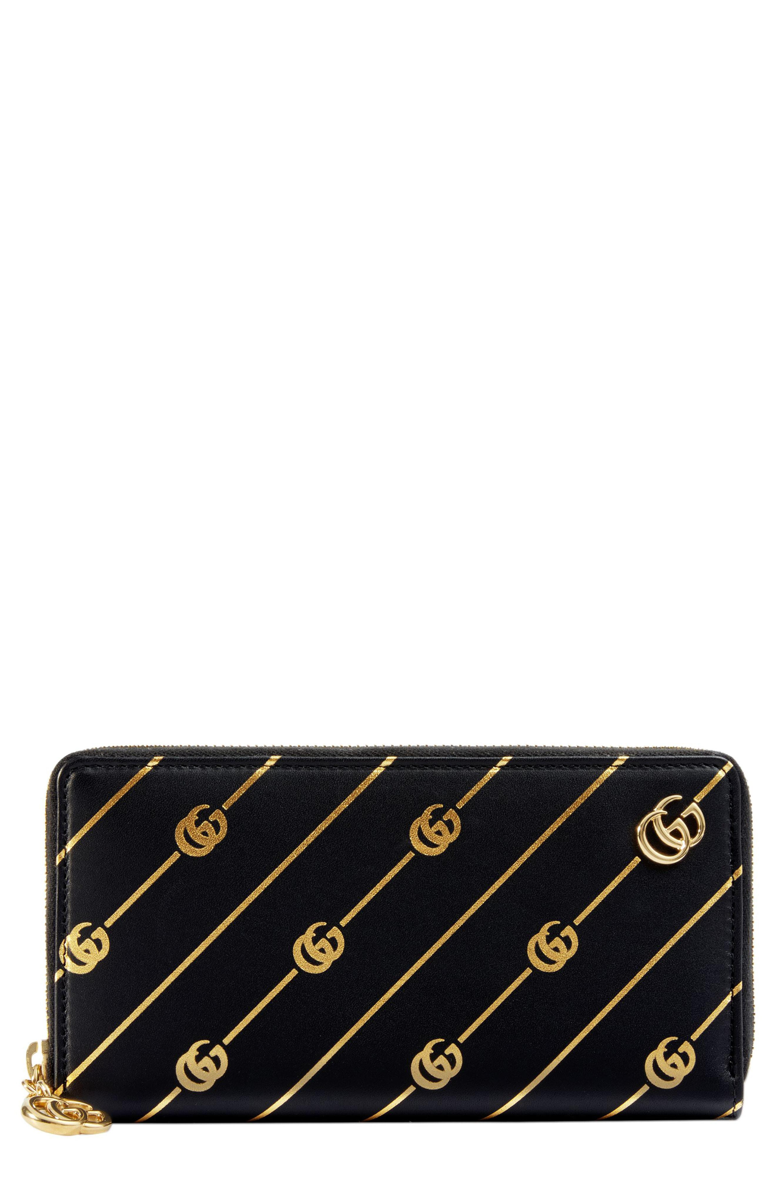 05a8b152d60 Lyst - Gucci Zip Around Wallet With Double G Stripe in Black