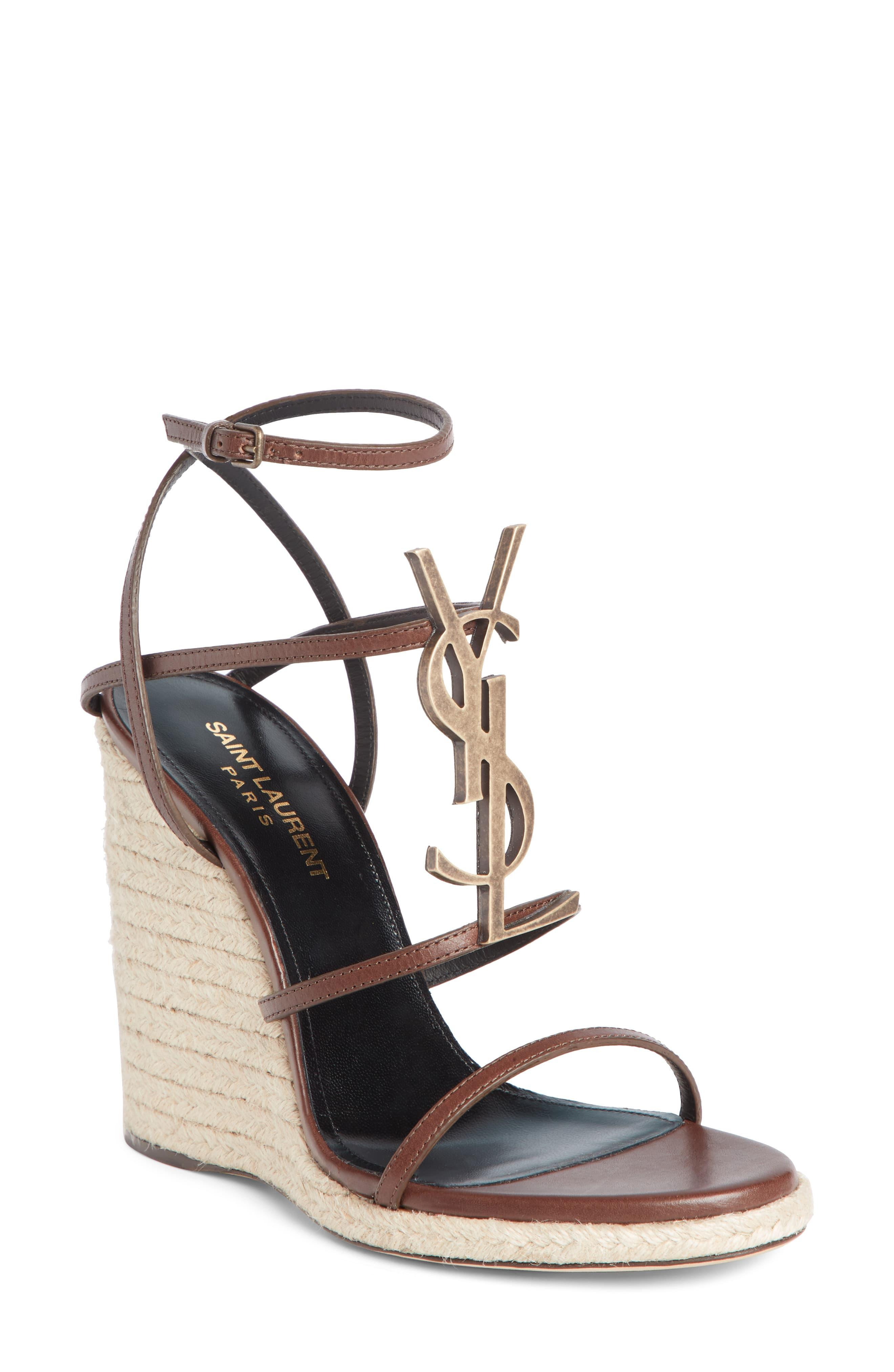 93a8b1c9596 Saint Laurent Cassandra Ysl Logo Wedge Sandal in Brown - Save 40% - Lyst