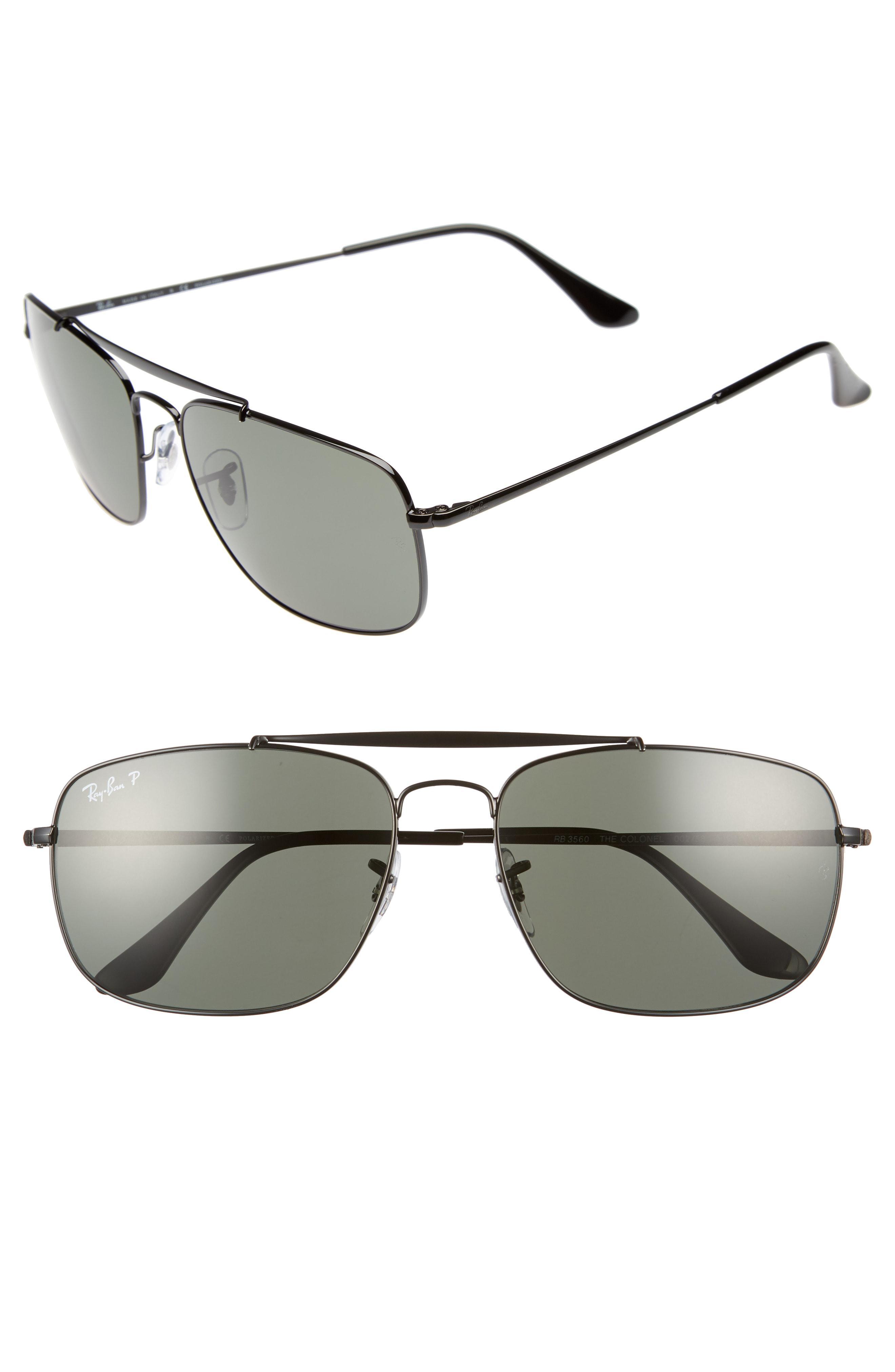 9012a32fc5 Ray-Ban. Men s Metallic The Colonel Square 61mm Polarized Sunglasses -