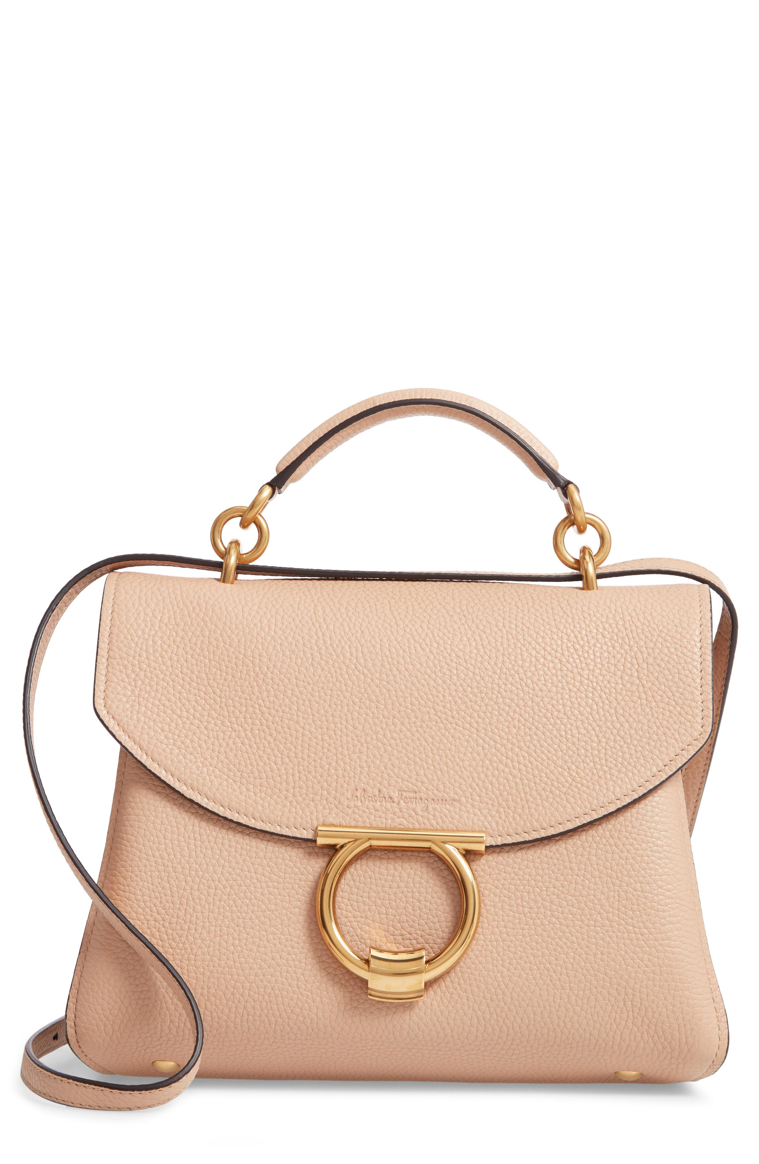 8c37278cd937 Lyst - Ferragamo Small Margot Leather Top Handle Bag in Natural