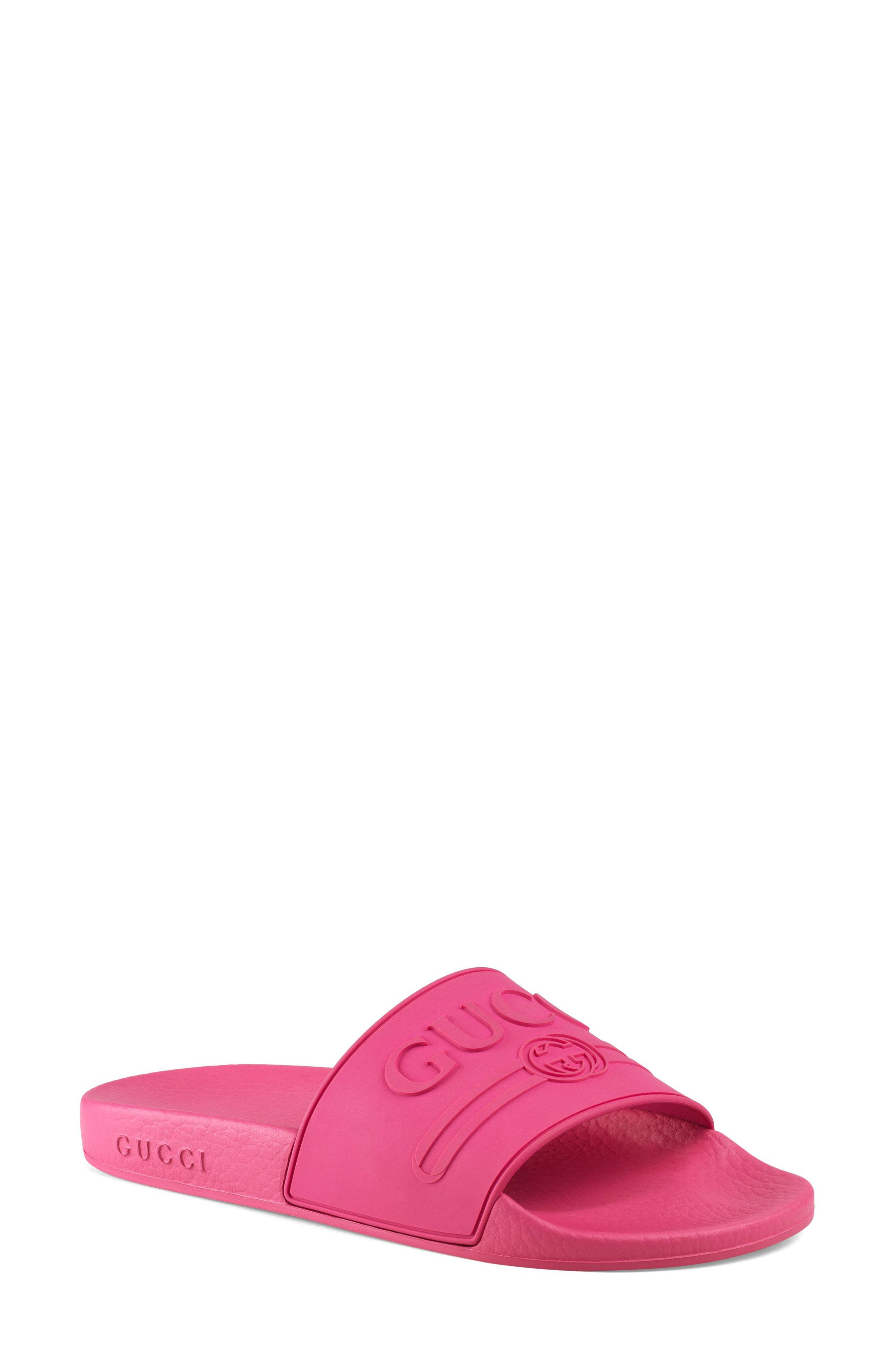 672a39d388be7f Gucci - Pink Pursuit Logo Slide Sandal - Lyst. View fullscreen
