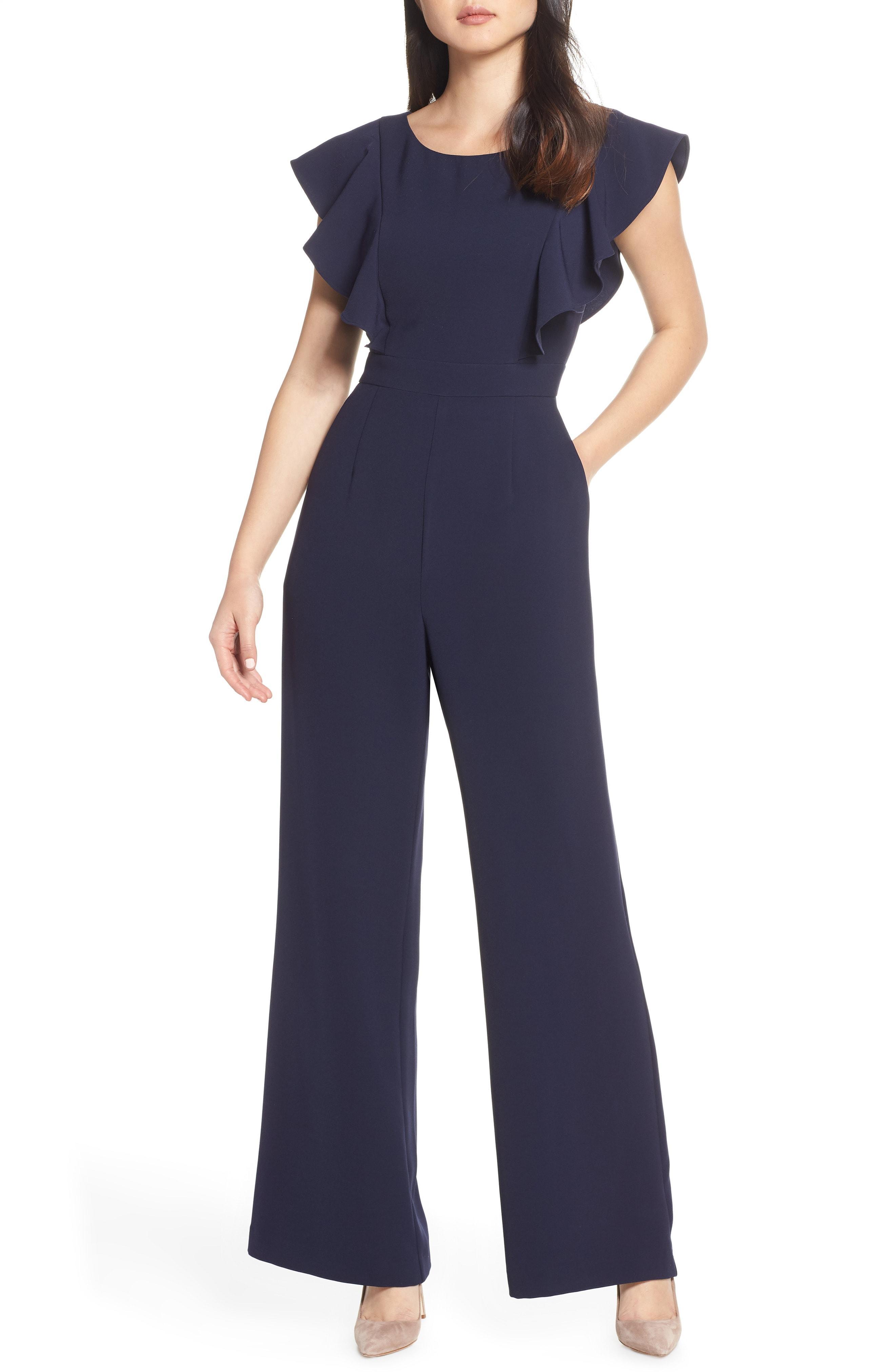 52ec400cb162 Lyst - Eliza J Flutter Sleeve Jumpsuit in Blue