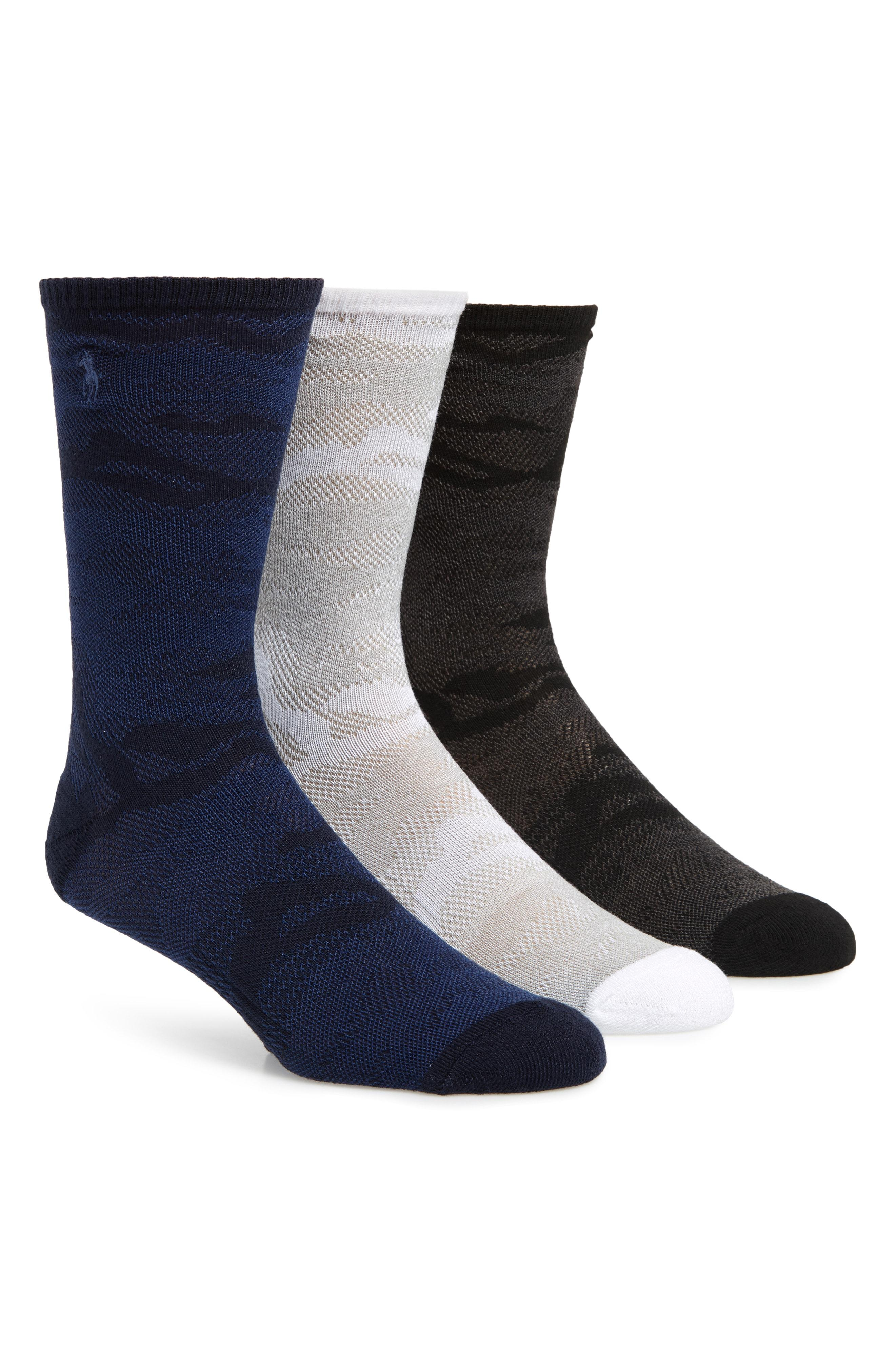 e19432f318dc Lyst - Ralph Lauren 3-pack Mesh Camo Crew Socks in Blue for Men