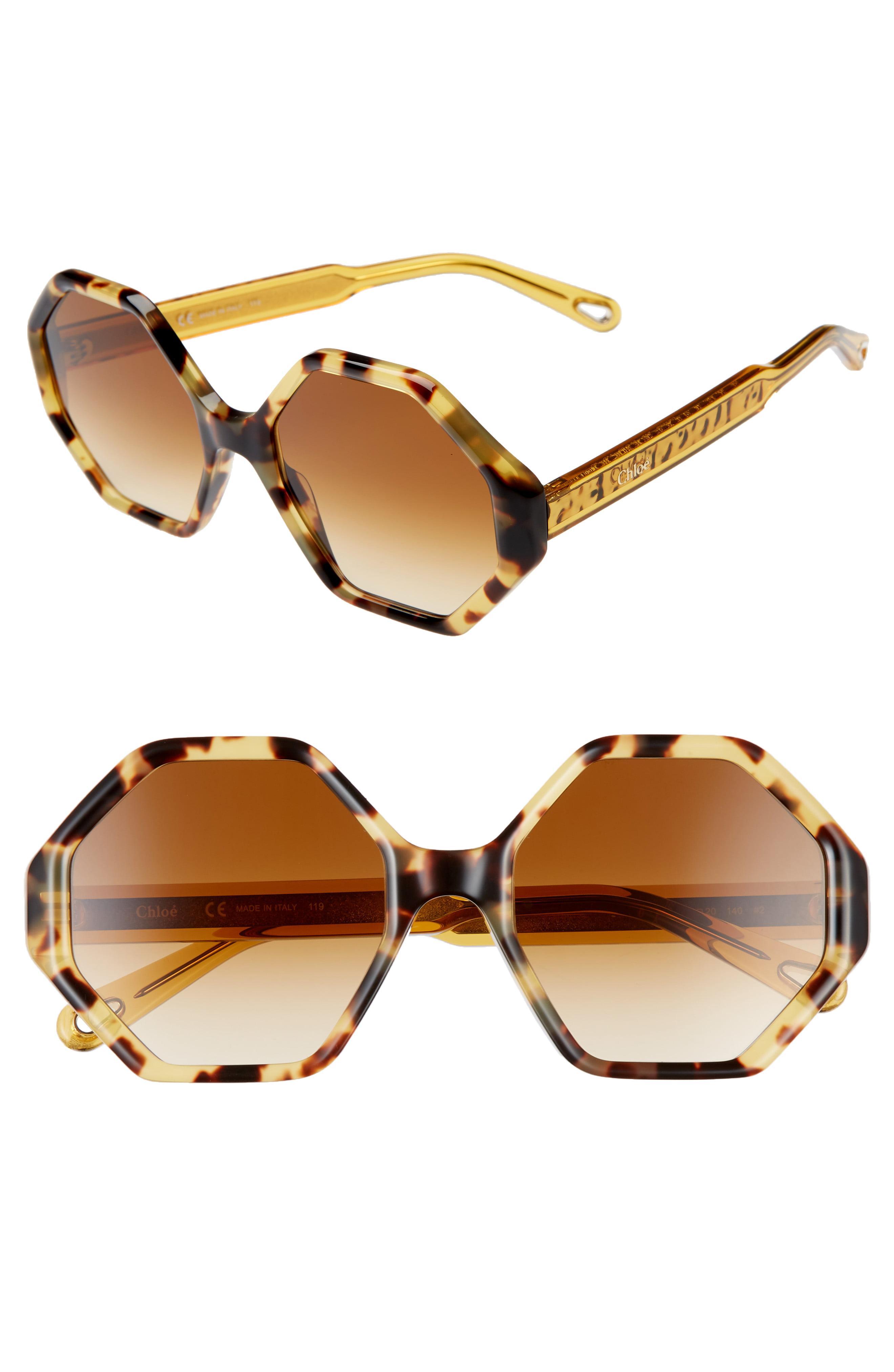 f93e3ad3d6 Lyst - Chloé Willow 55mm Octagonal Sunglasses - Havana Gradient ...
