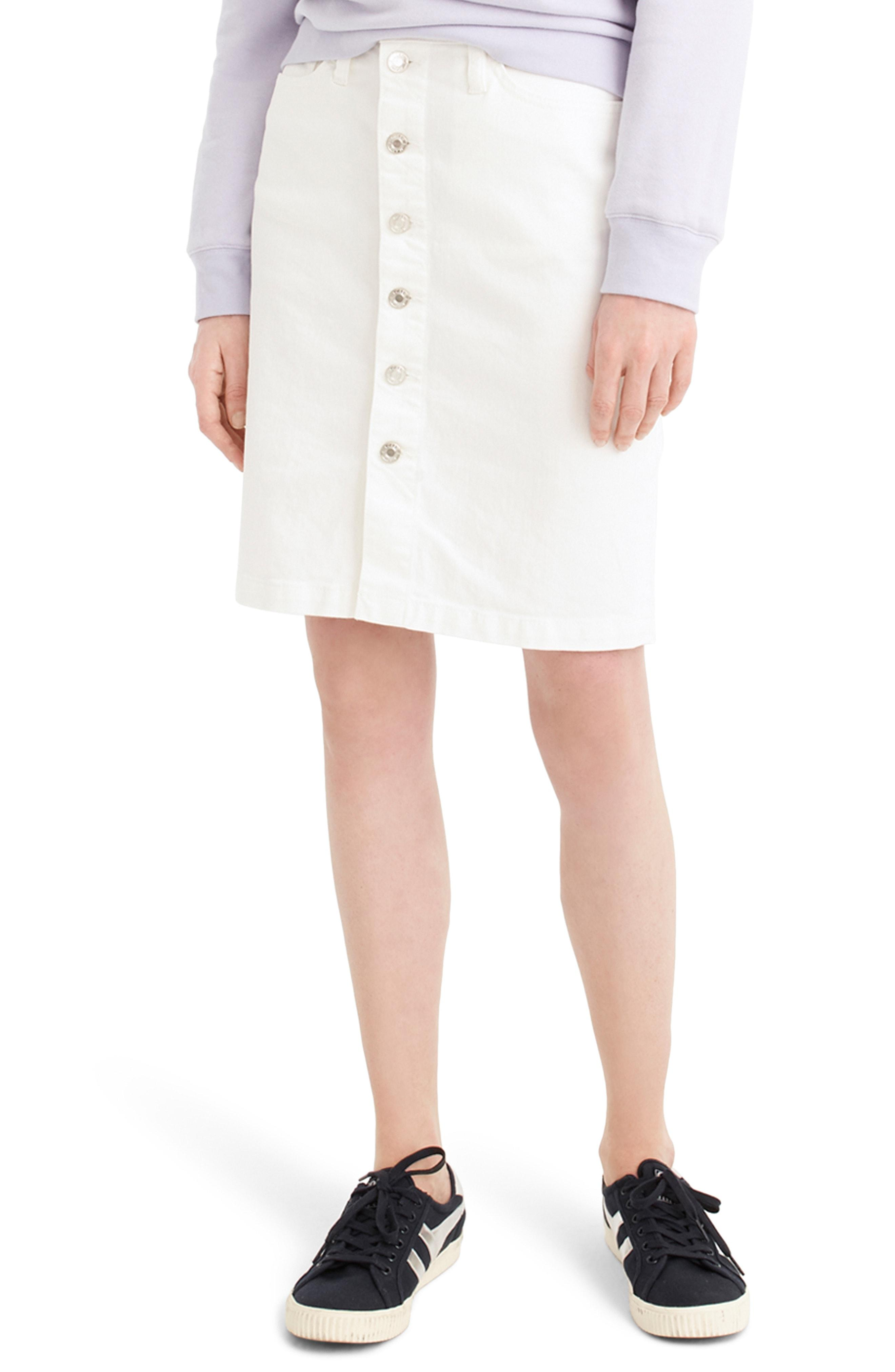 0313d26089 Lyst - J.Crew Button Front Stretch Denim Pencil Skirt in White