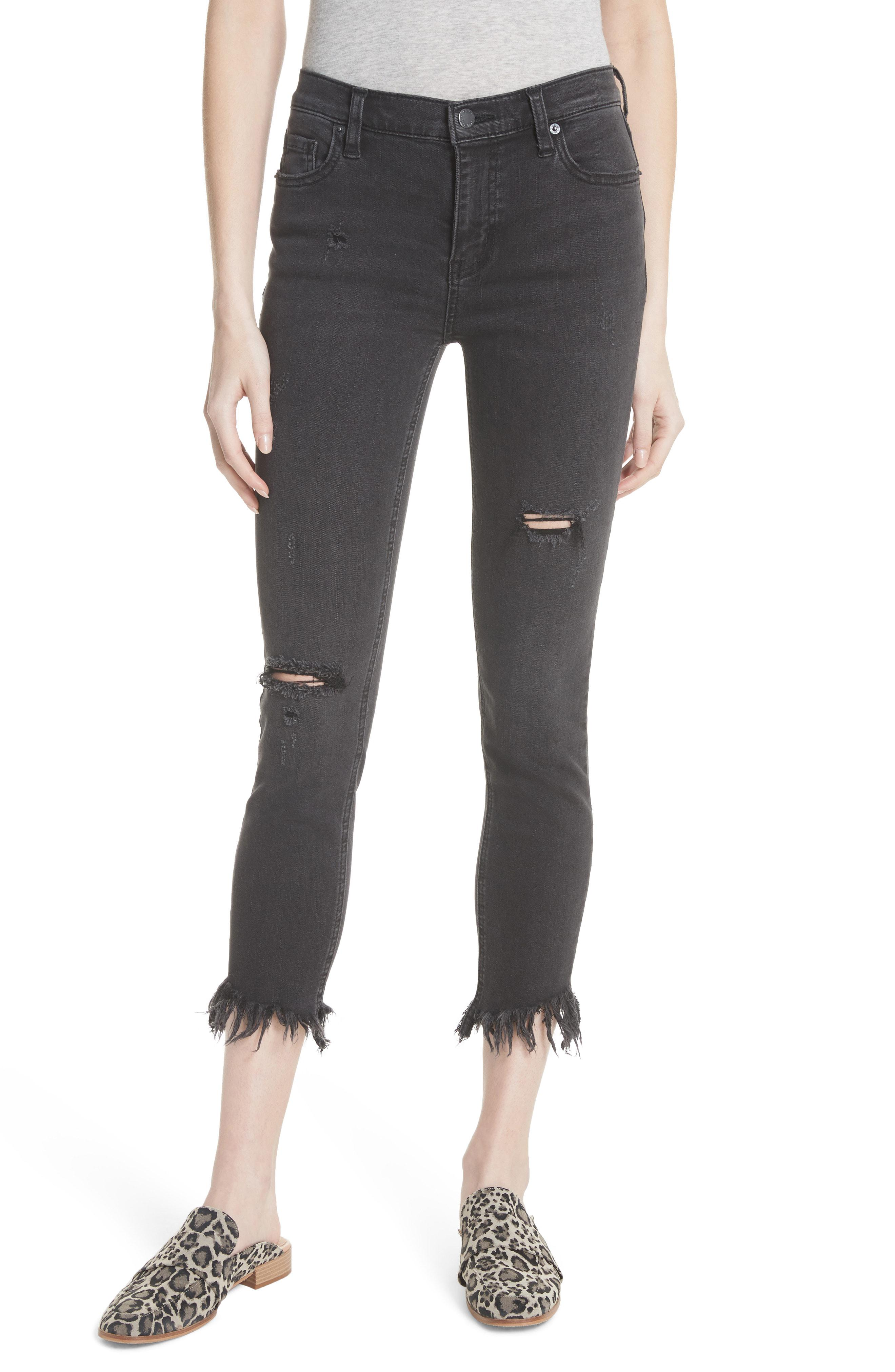 78536b93fbe Free People. Women s Black We The Free By Great Heights Frayed Skinny Jeans