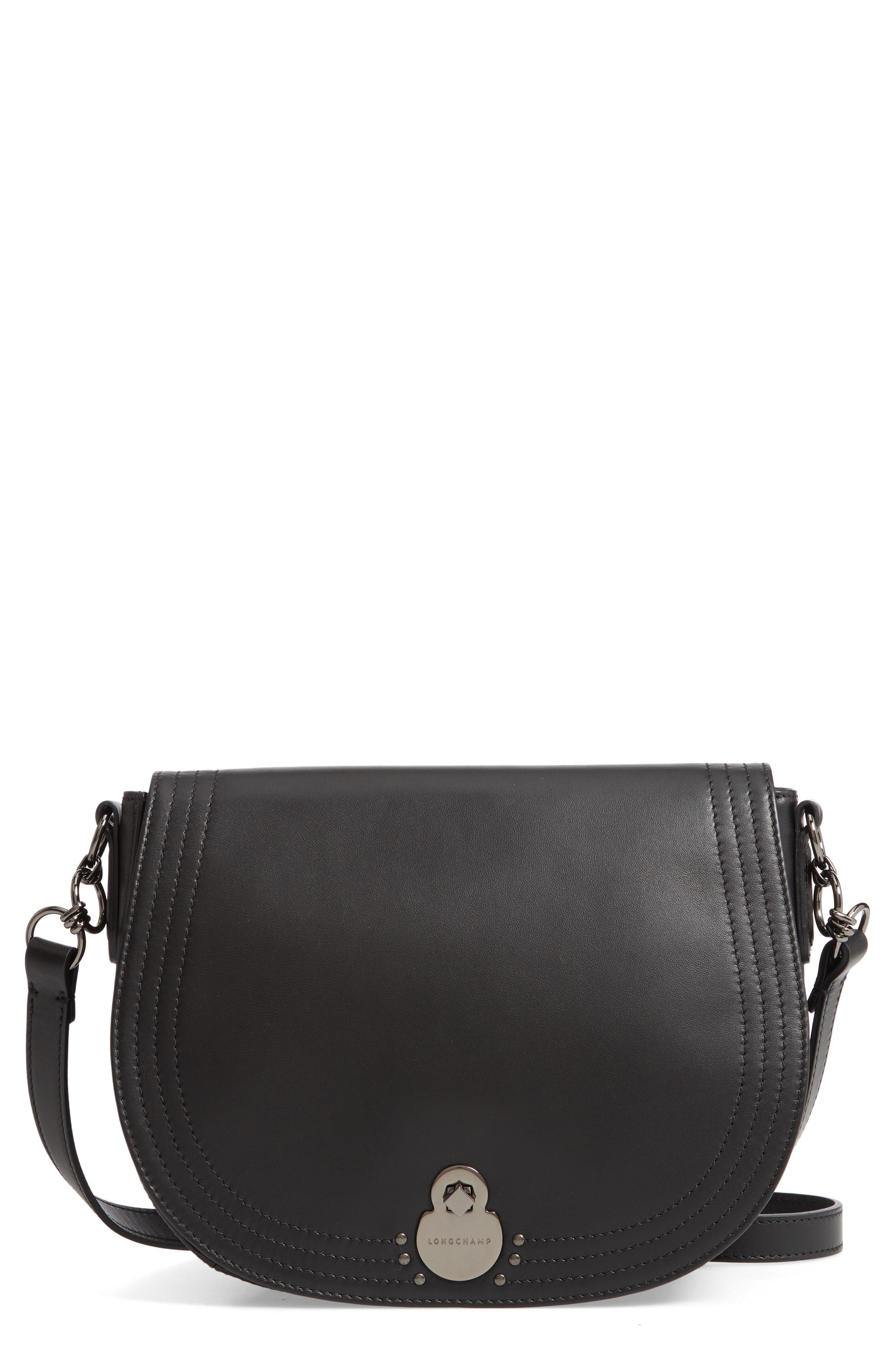 abedb1ce7511 Longchamp - Black Medium Cavalcade Leather Saddle Bag - - Lyst. View  fullscreen