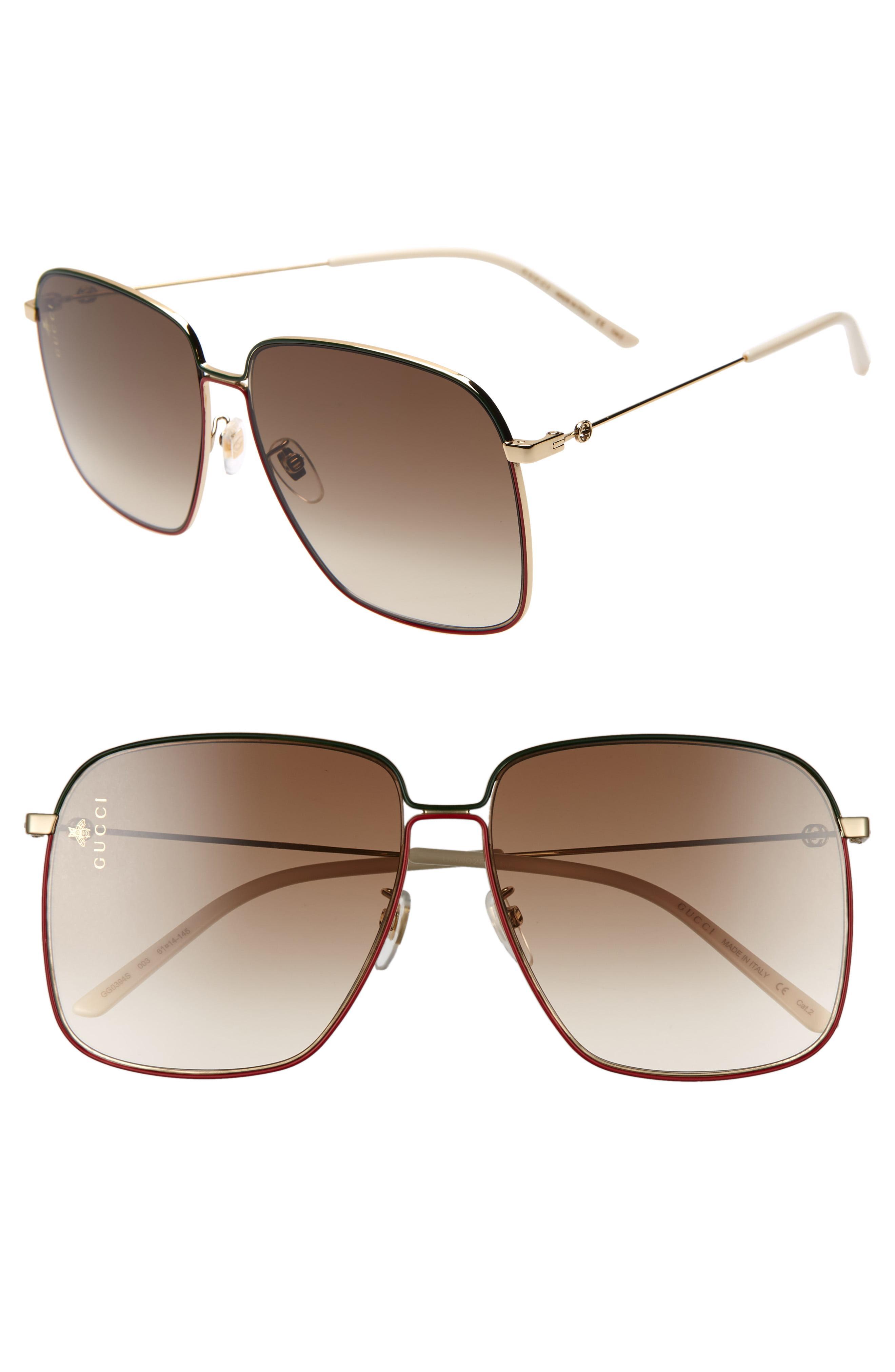 a485fb2b9ef Gucci - Brown 61mm Square Sunglasses - Lyst. View fullscreen