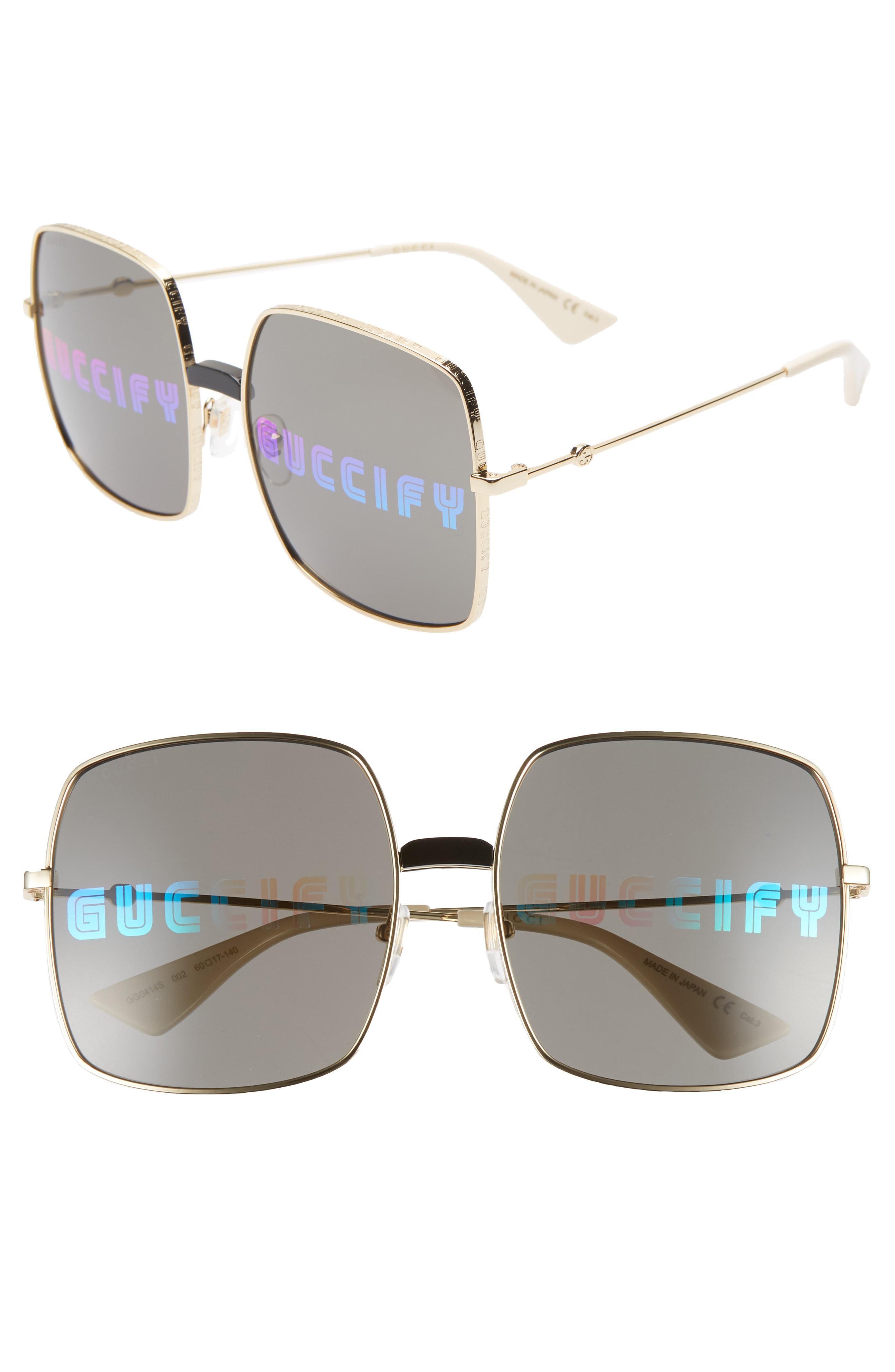 30e4ba2b385 Lyst - Gucci 60mm Square Sunglasses in Metallic for Men