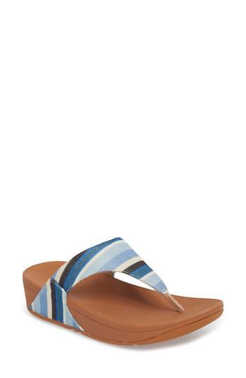 8aed89c116fb12 Lyst - Fitflop Lulu Stripe Flip Flop in Blue