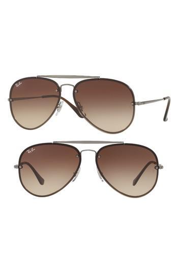 855e7b8716 Lyst - Ray-Ban 61mm Gradient Lens Aviator Sunglasses - Gunmetal ...