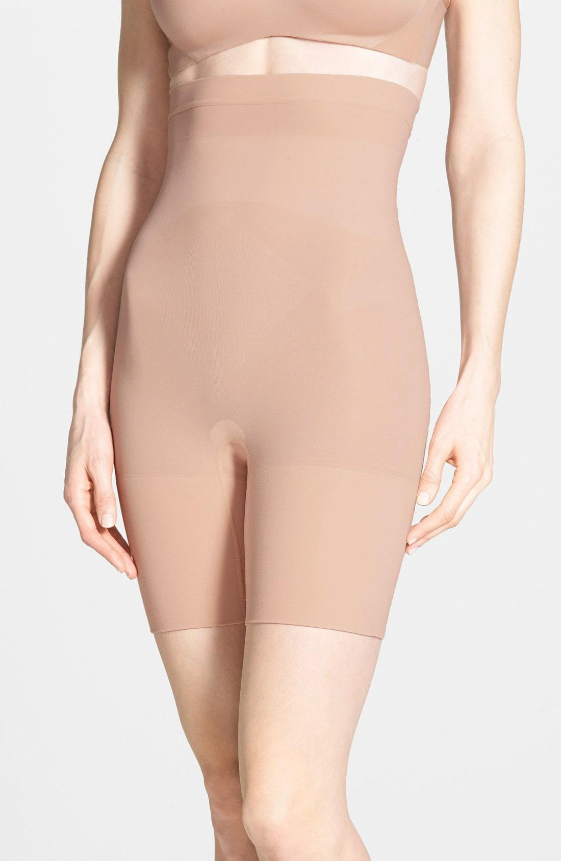 50e3f9f6e28 Lyst - Spanx Spanx Higher Power Mid-thigh Shaping Shorts in Natural