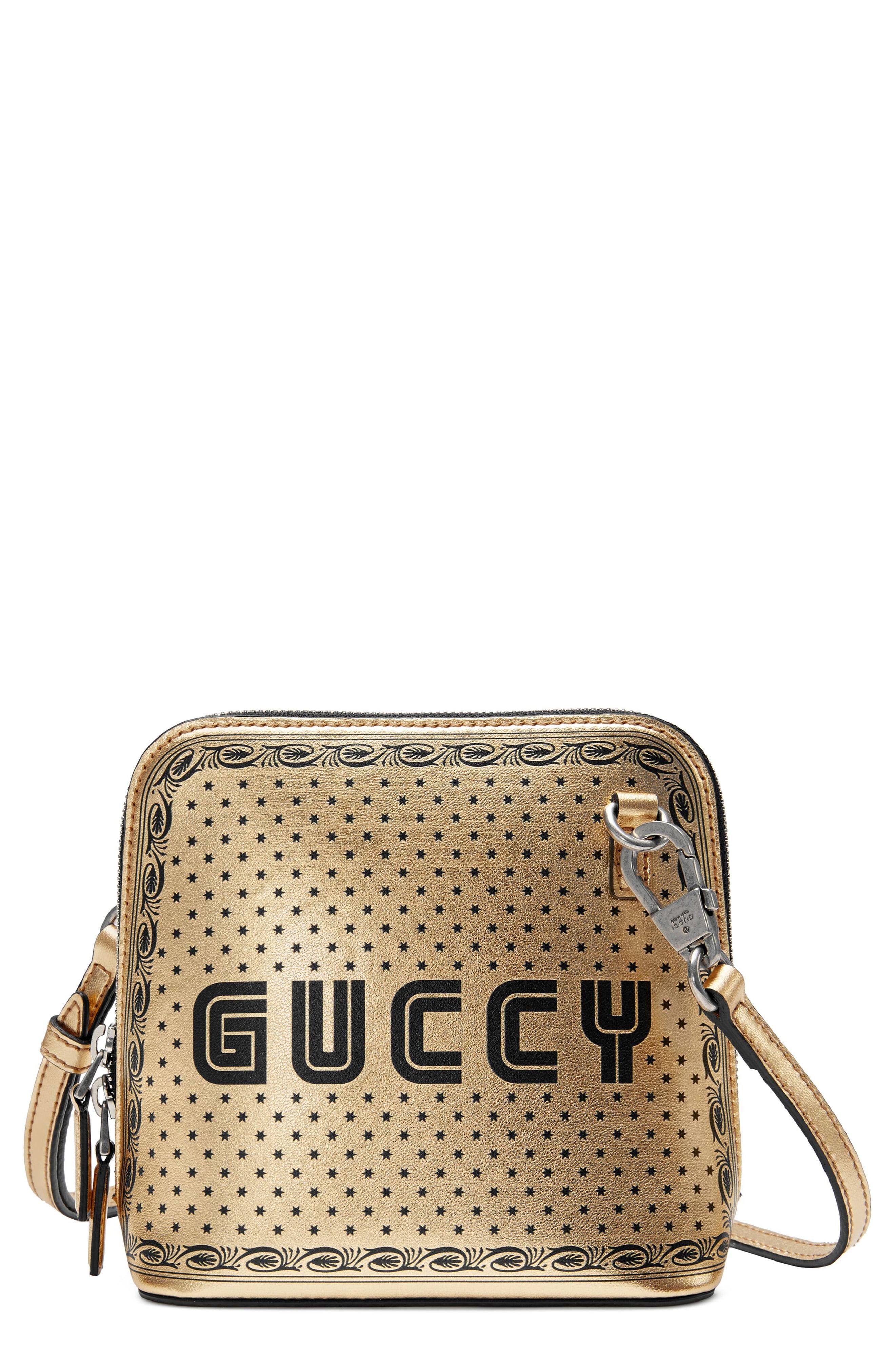 c8023103ac4 Lyst - Gucci Guccy Logo Moon   Stars Leather Crossbody Bag -