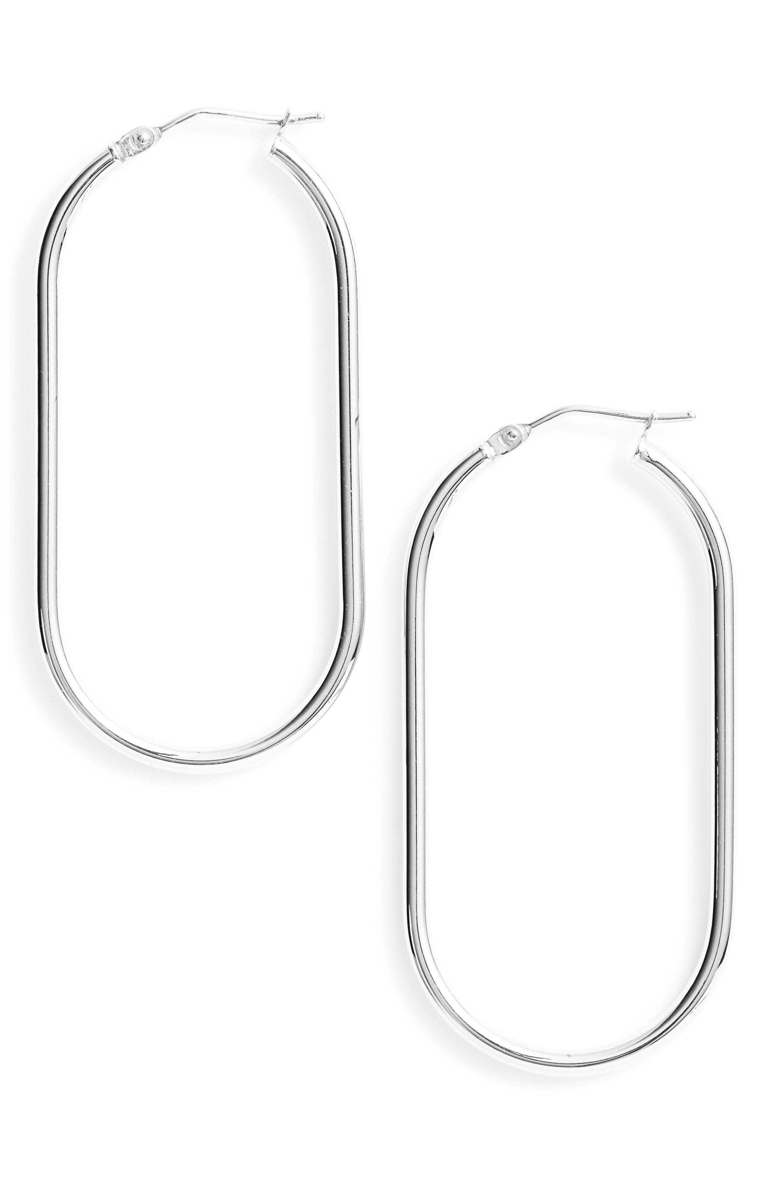 Bony Levy Women S Metallic 14k Gold Oblong Hoop Earrings Nordstrom