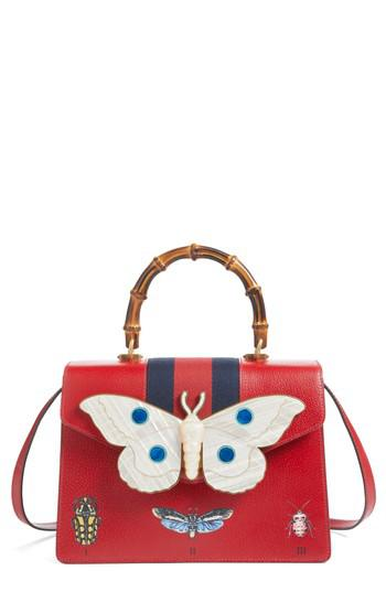 0b2885cd1e0 Lyst - Gucci Small Falena Moth Top Handle Leather Satchel in Red