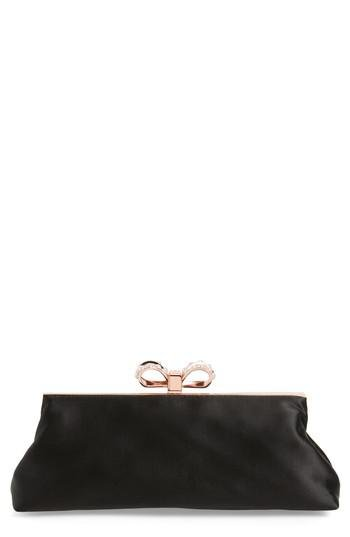 531838ba46 Ted Baker Georgaa Bow Clasp Evening Bag in Black - Lyst