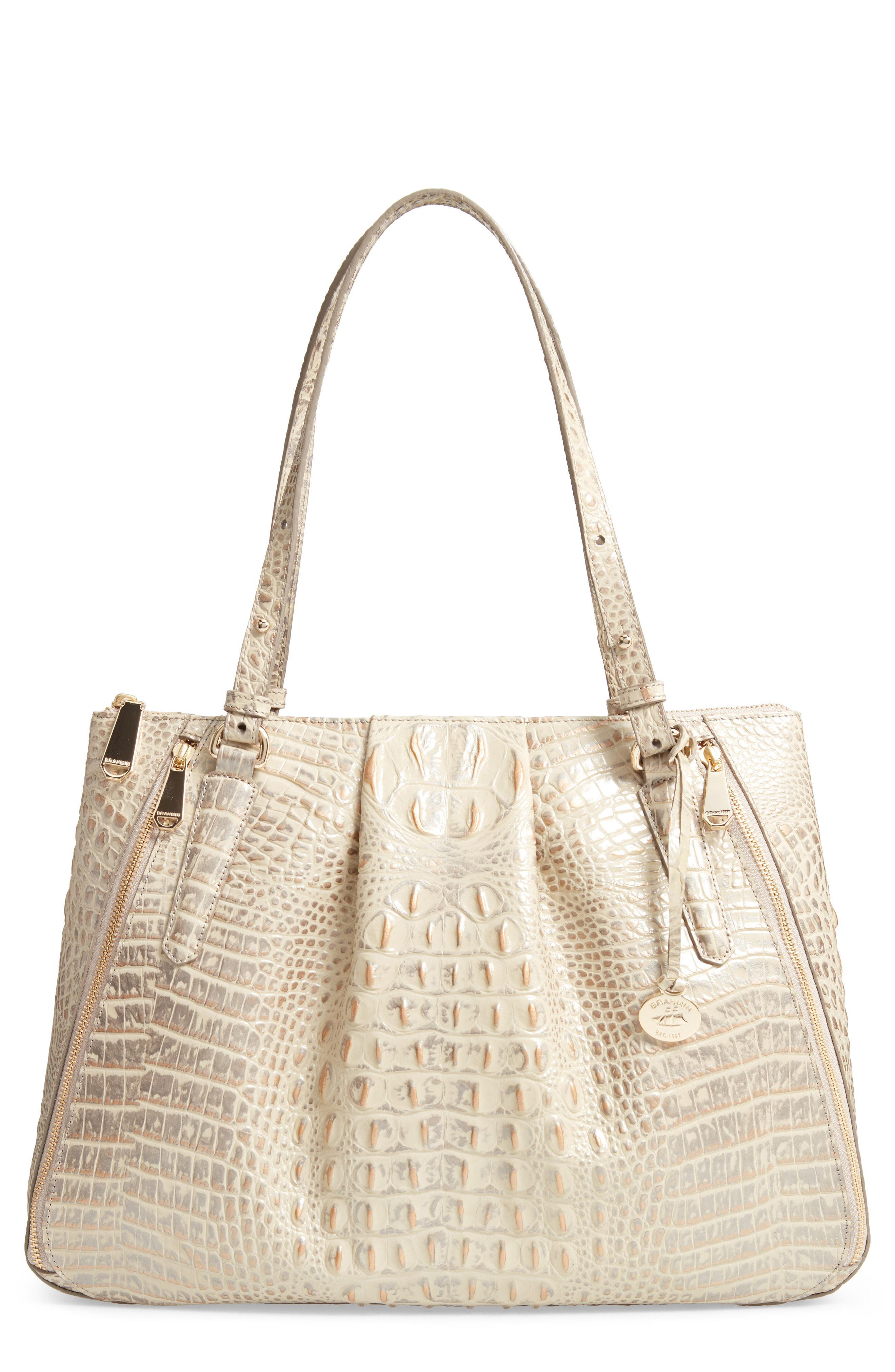 4e944eef4 Brahmin Melbourne - Adina Croc Embossed Leather Satchel in White - Lyst