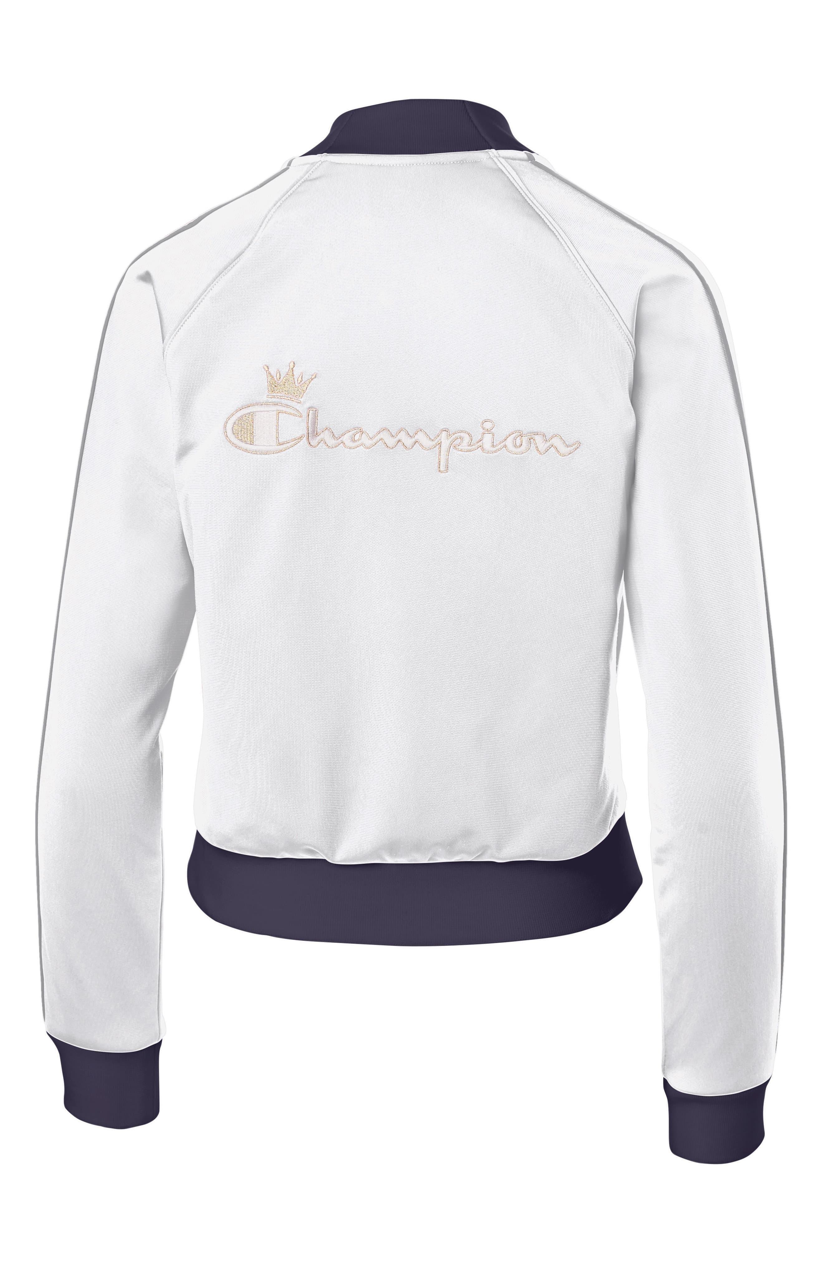 7c824bffb Champion Logo Tape Track Jacket in White - Lyst