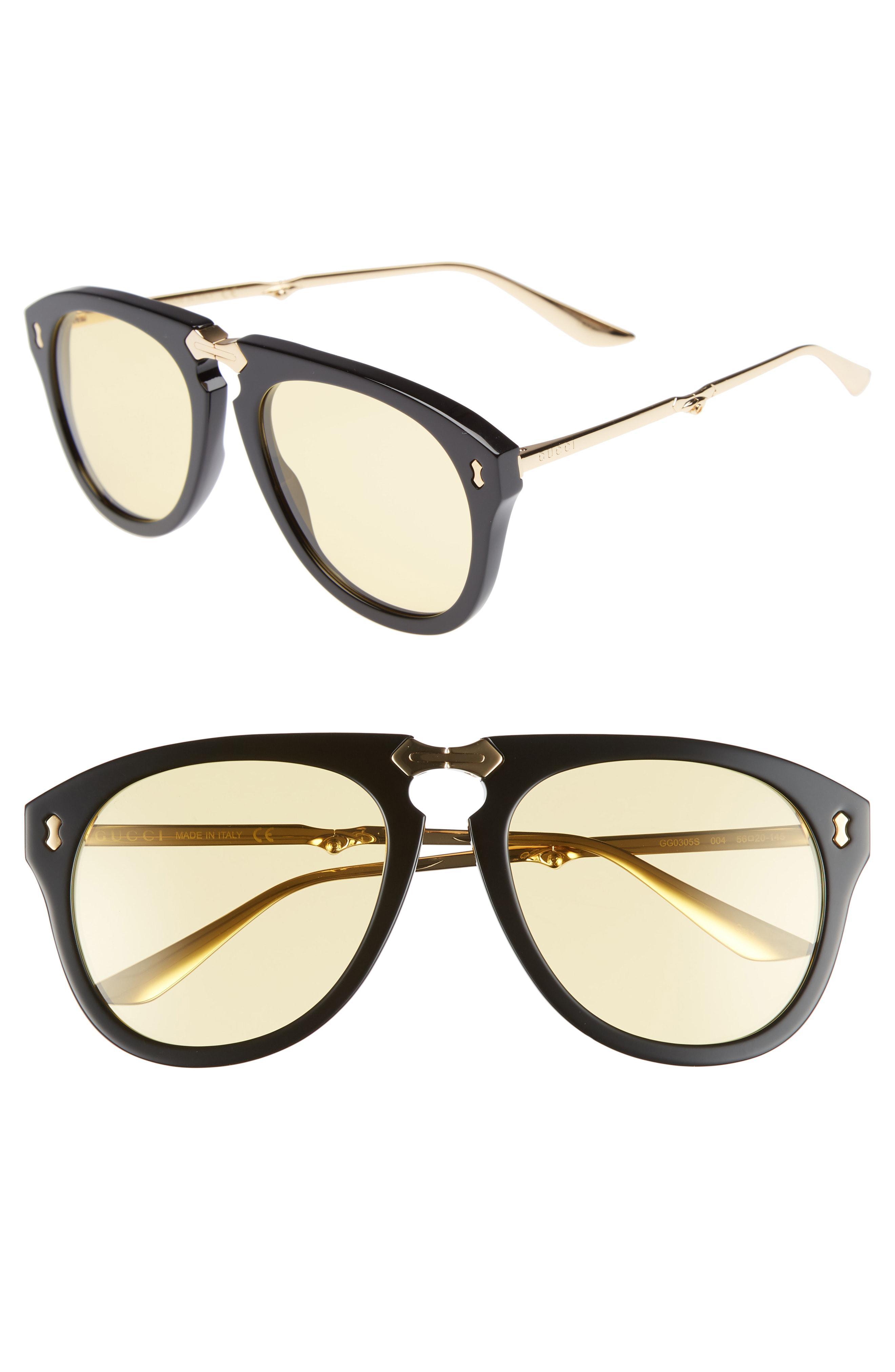 d0b8738d8fb Gucci Big Rivets 56mm Aviator Sunglasses in Metallic for Men - Lyst