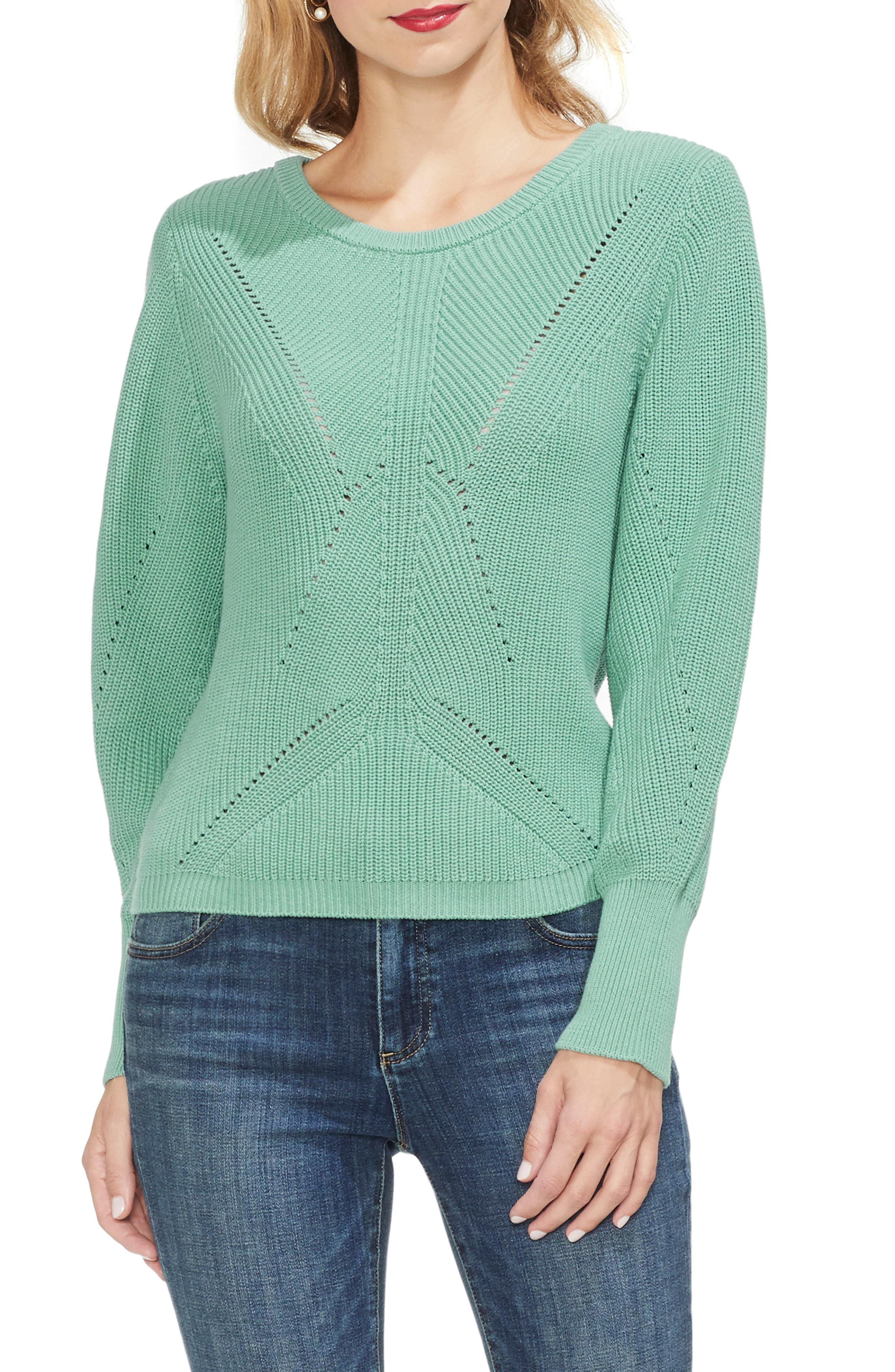 ea460393330337 Lyst - Vince Camuto Lace-up Back Sweater in Green