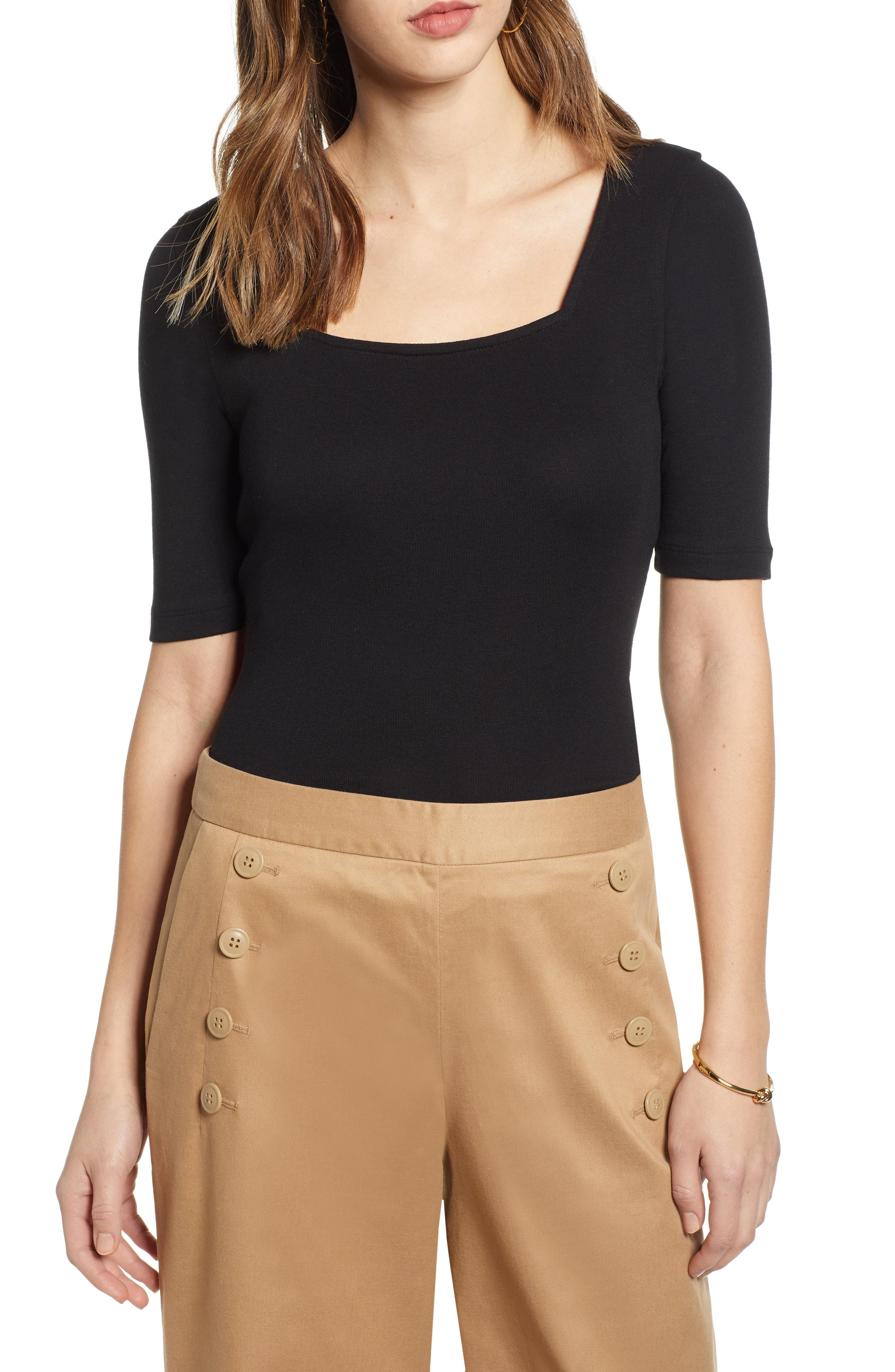 8cfe3a6dee Lyst - Nordstrom 1901 Square Neck Top in Black