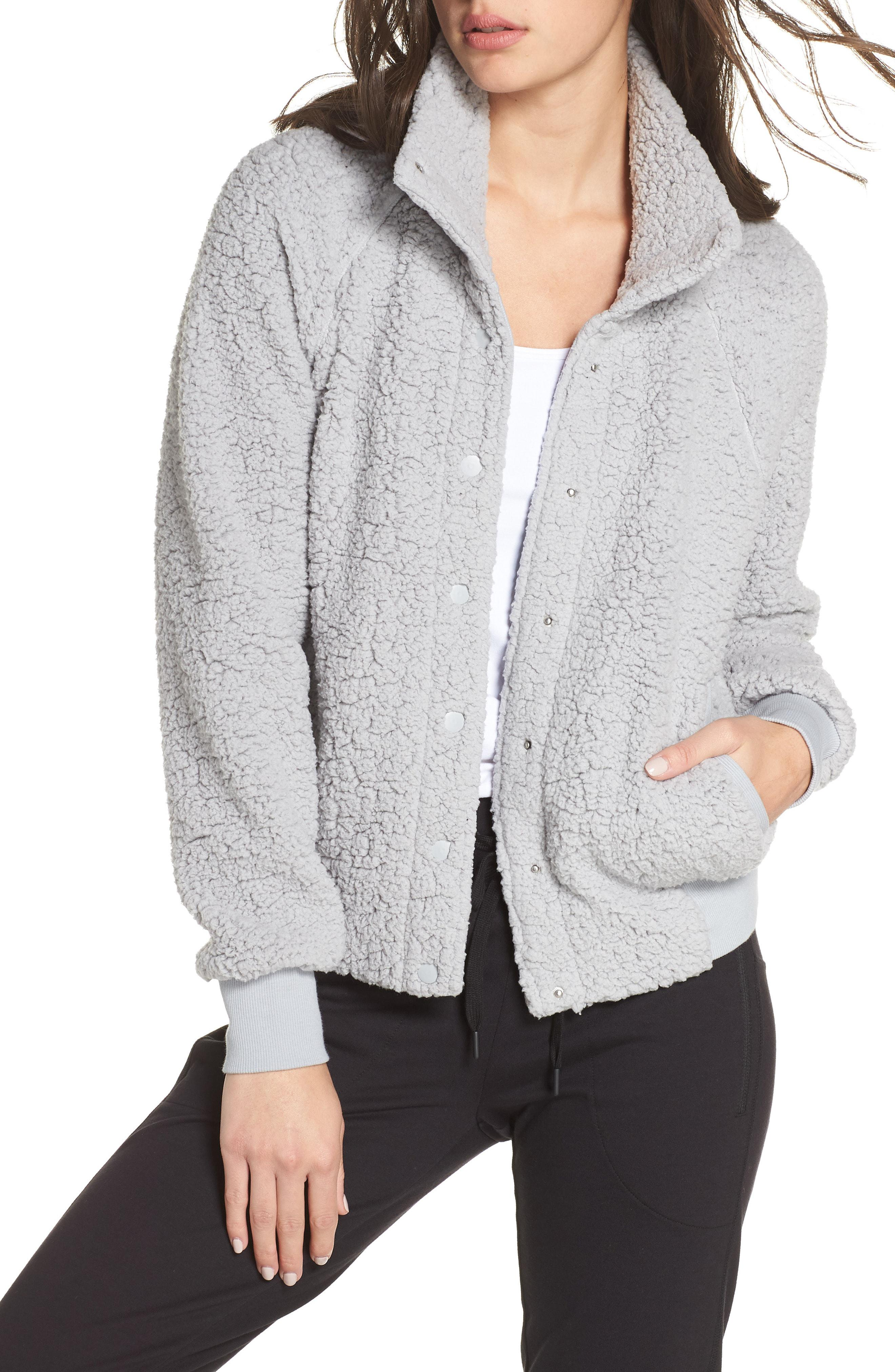 ca26d41811a6 Lyst - Zella Cozy Up Bomber Jacket in Gray