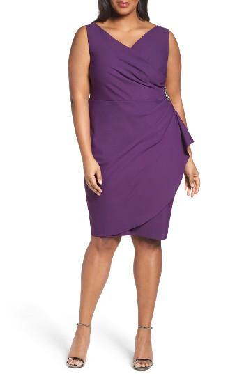 Alex Evenings Embellished Surplice Sheath Dress In Purple