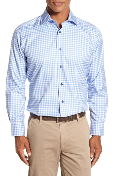 David Donahue Regular Fit Check Sport Shirt In Blue For