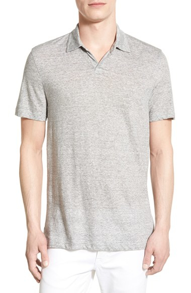 Michael kors microstripe cotton linen polo in gray for for Cotton linen polo shirts