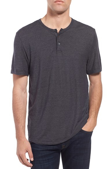 James perse stripe short sleeve henley in gray for men lyst for James perse henley shirt