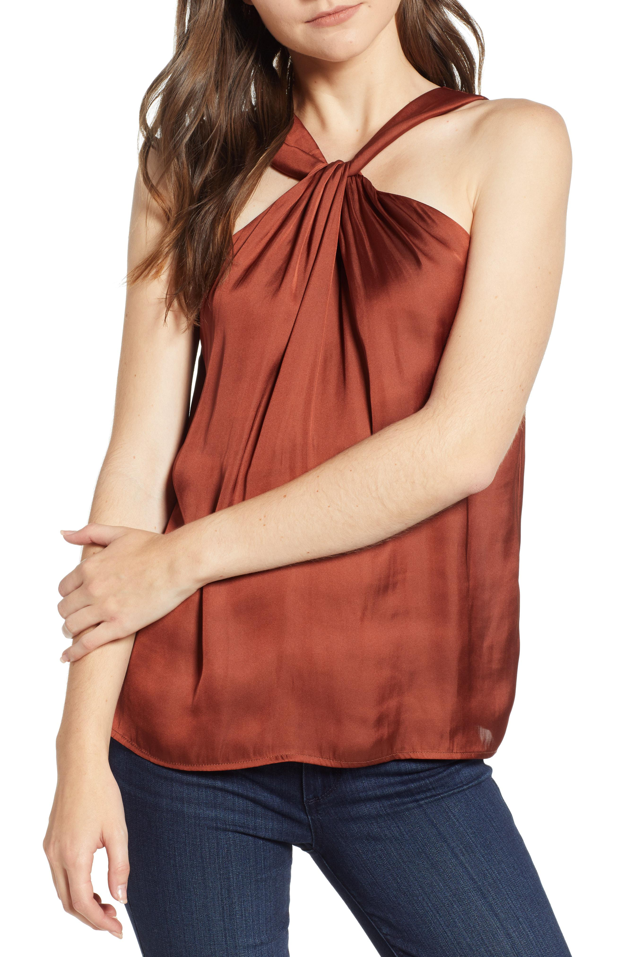 3c3c0330fa282 Lyst - Trouvé Twist Front Top in Red
