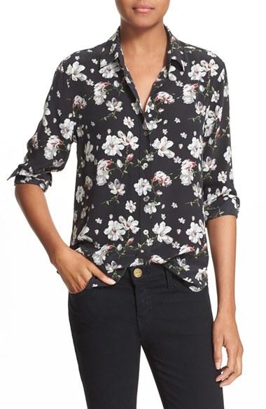 9700fd4de49e06 Lyst - Equipment  leema  Floral Print Silk Shirt in Black