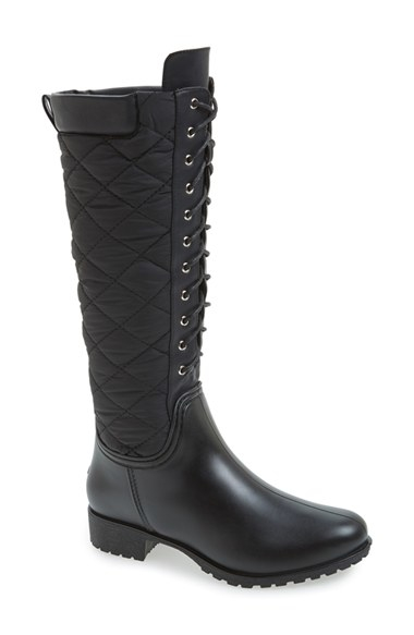 Dav Tofino Quilted Tall Waterproof Rainboots In Black Lyst