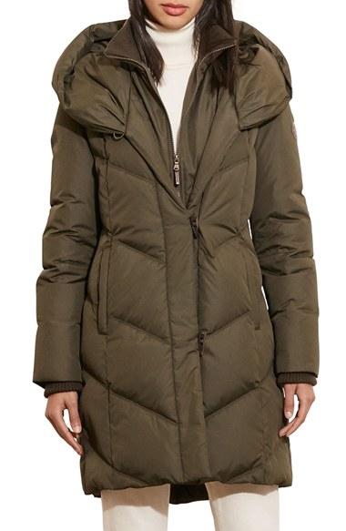 Lauren By Ralph Lauren Quilted Hooded Coat In Green Lyst