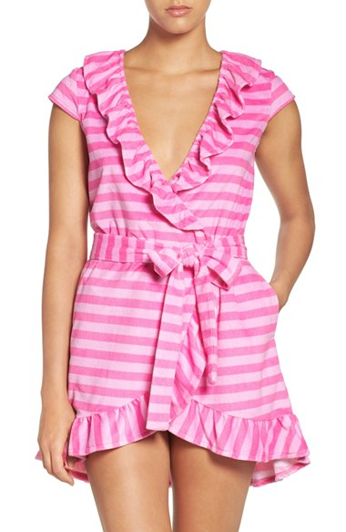 Betsey johnson 39 vintage 39 ruffle terry robe in pink lyst for Robes de mariage de betsey johnson