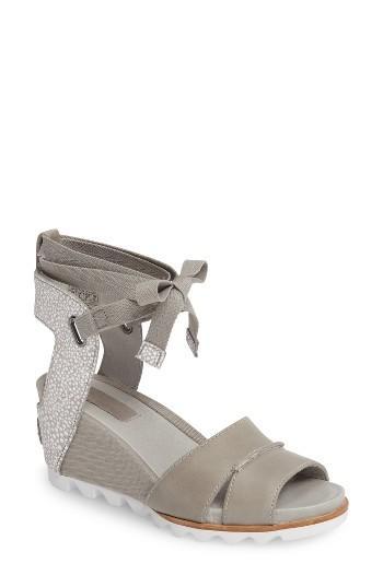 Sorel Joanie Wrap Wedge Sandal In Gray Lyst