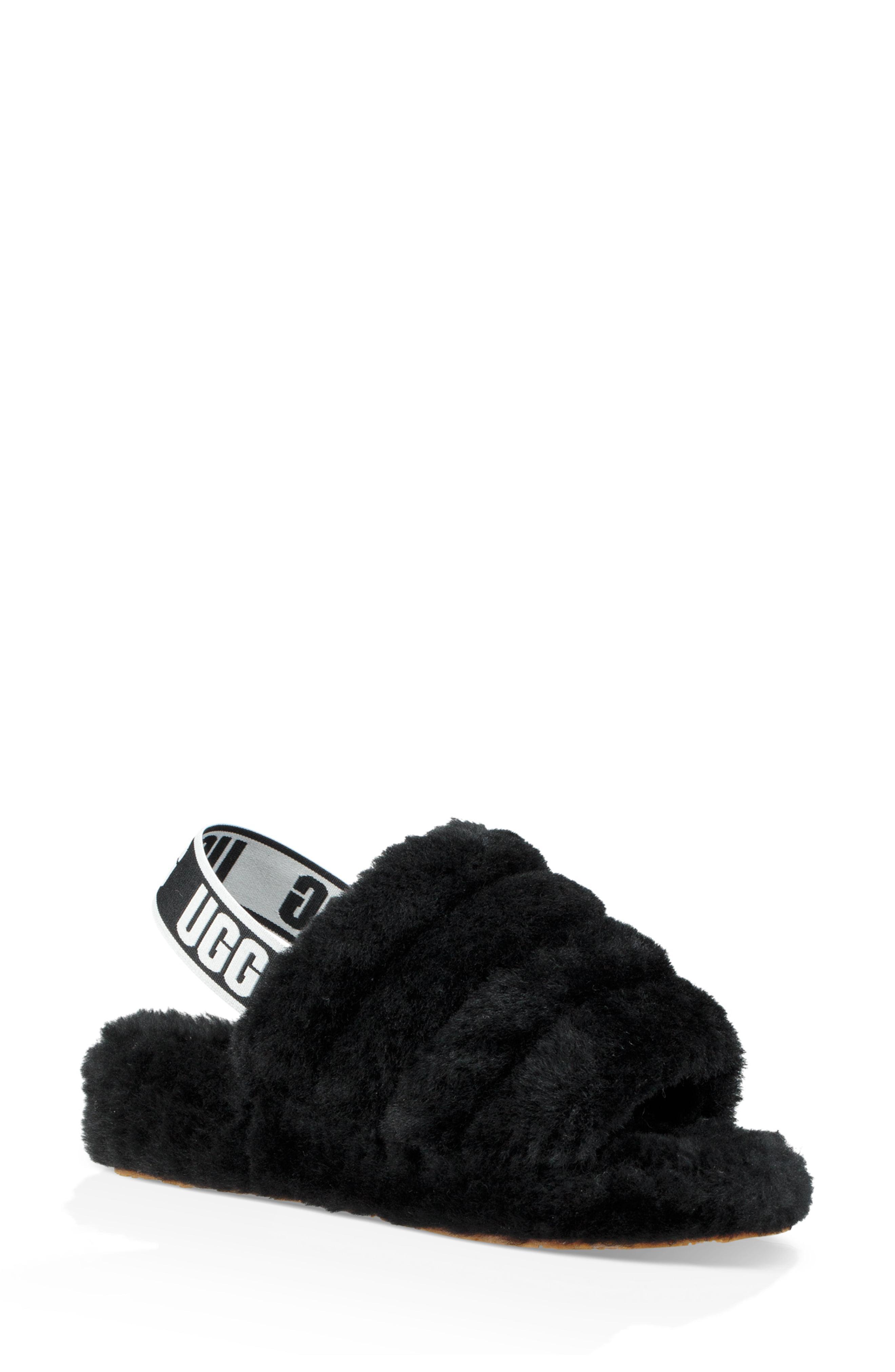 32f92a04d75 Ugg - Black Ugg Fluff Yeah Genuine Shearling Slipper - Lyst. View fullscreen