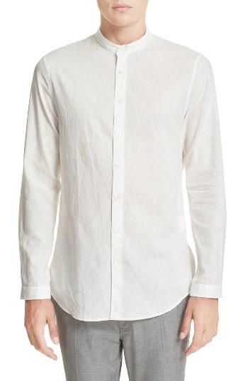 John Varvatos Extra Trim Fit Band Collar Linen Sport Shirt