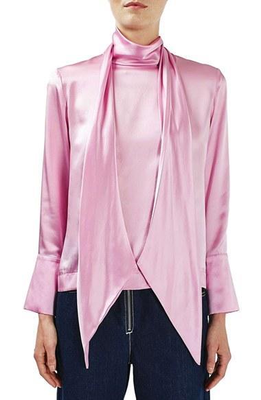 Topshop Tie Neck Silk Blouse In Pink Lyst