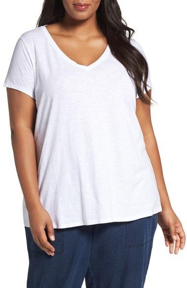 Lyst eileen fisher organic slub cotton jersey tee in white for Eileen fisher organic cotton t shirt