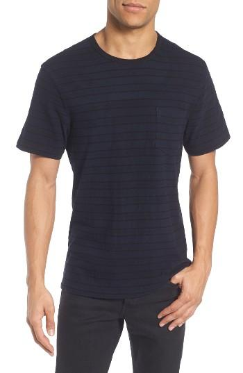 James perse retro stripe pocket t shirt in blue for men lyst for James perse t shirts sale