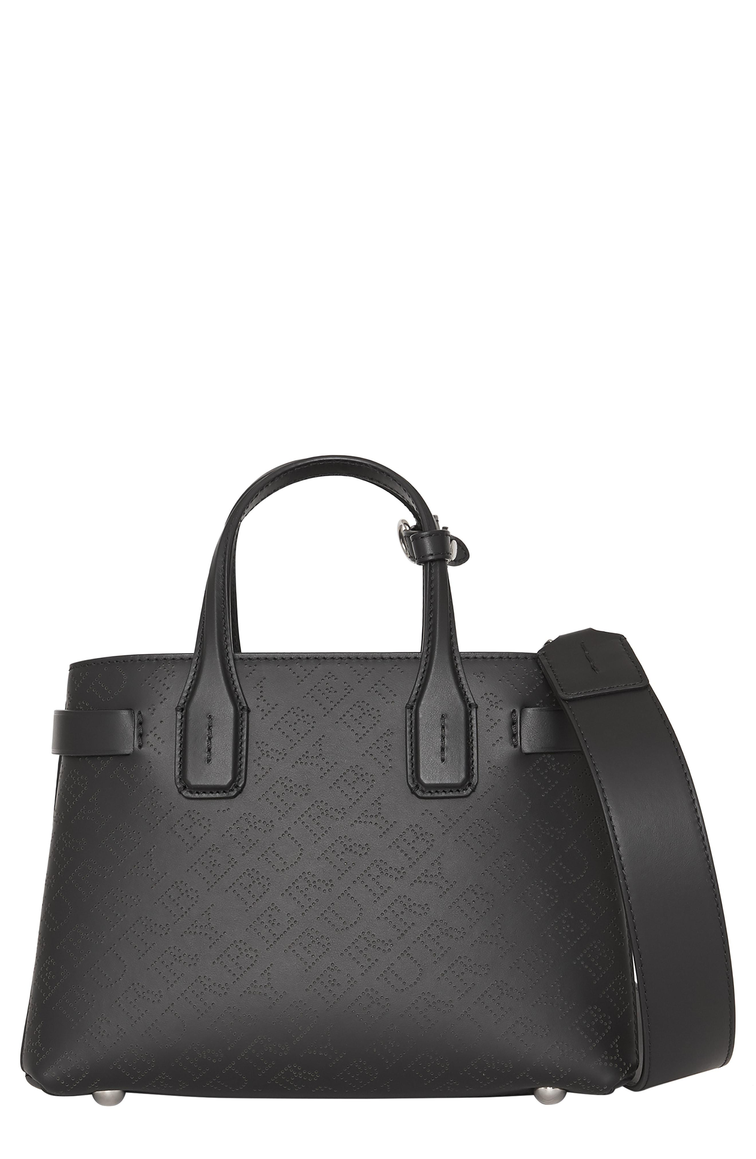 0113983343fa Lyst - Burberry Small Banner Perforated Leather Tote in Black