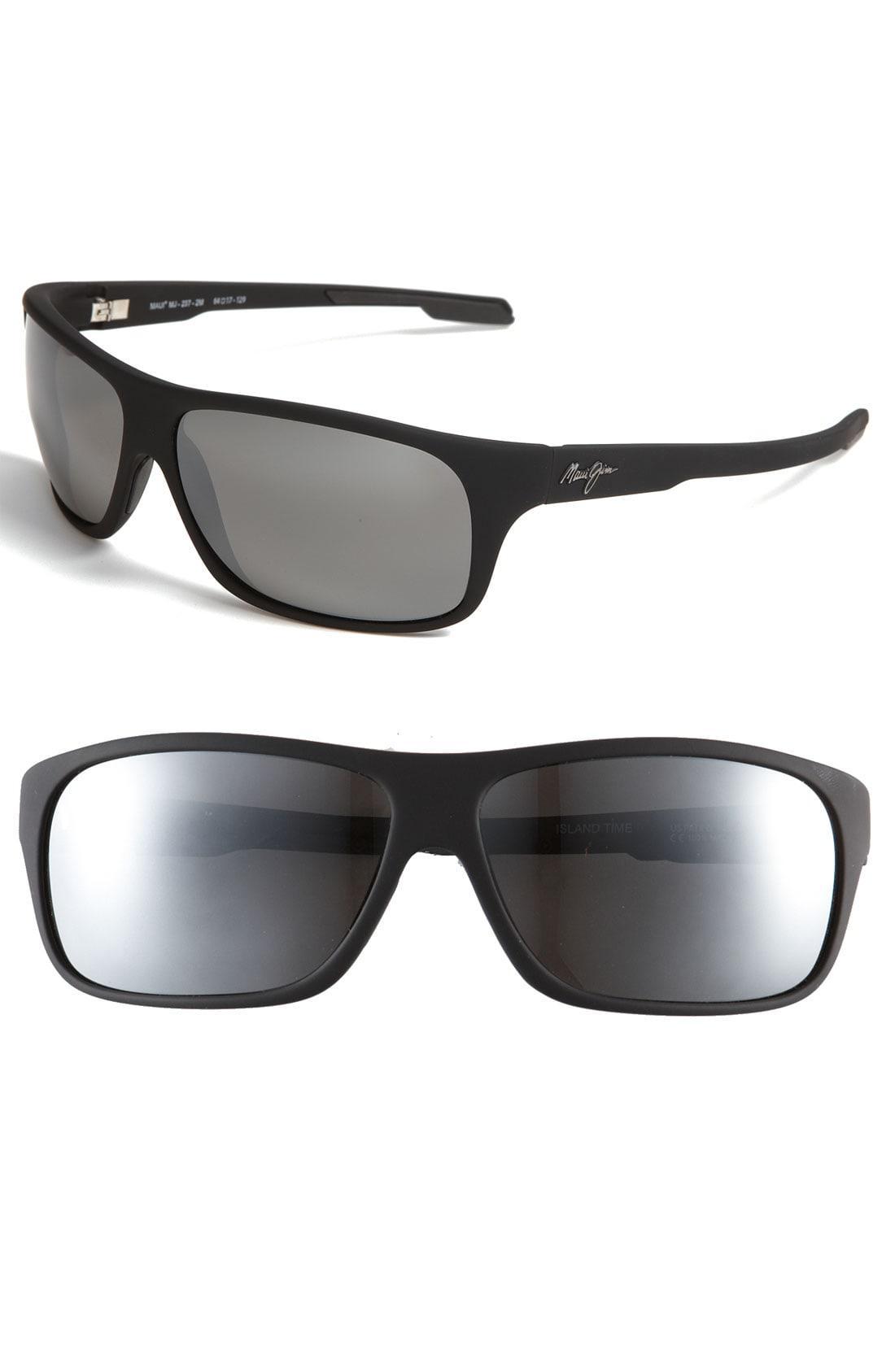 3e8953aec86 Maui Jim. Men s Black  island Time - Polarizedplus  Rectangle Wrap 64mm  Sunglasses