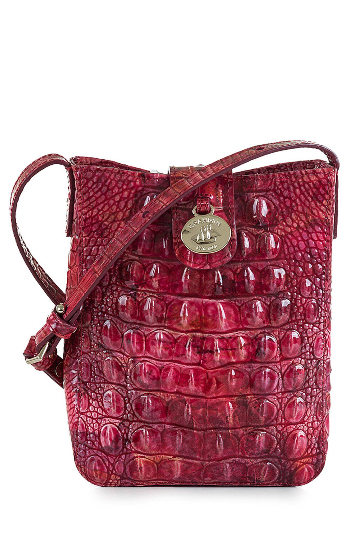 ac1e76b1b Lyst - Brahmin Marley Melbourne Embossed Leather Crossbody in Red