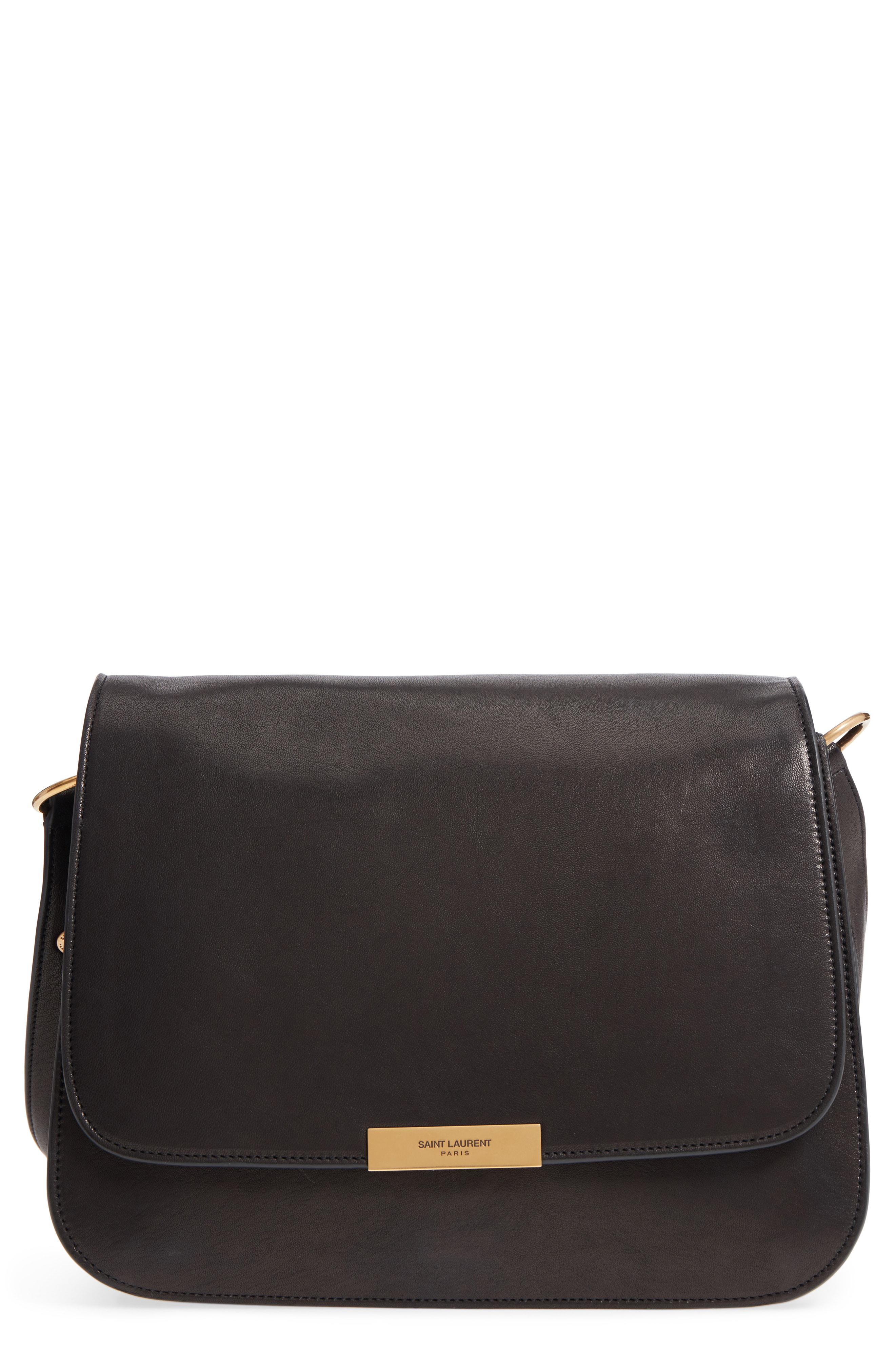 Lyst - Saint Laurent Amalia Leather Flap Shoulder Bag - in Black 8fa62483ae33e