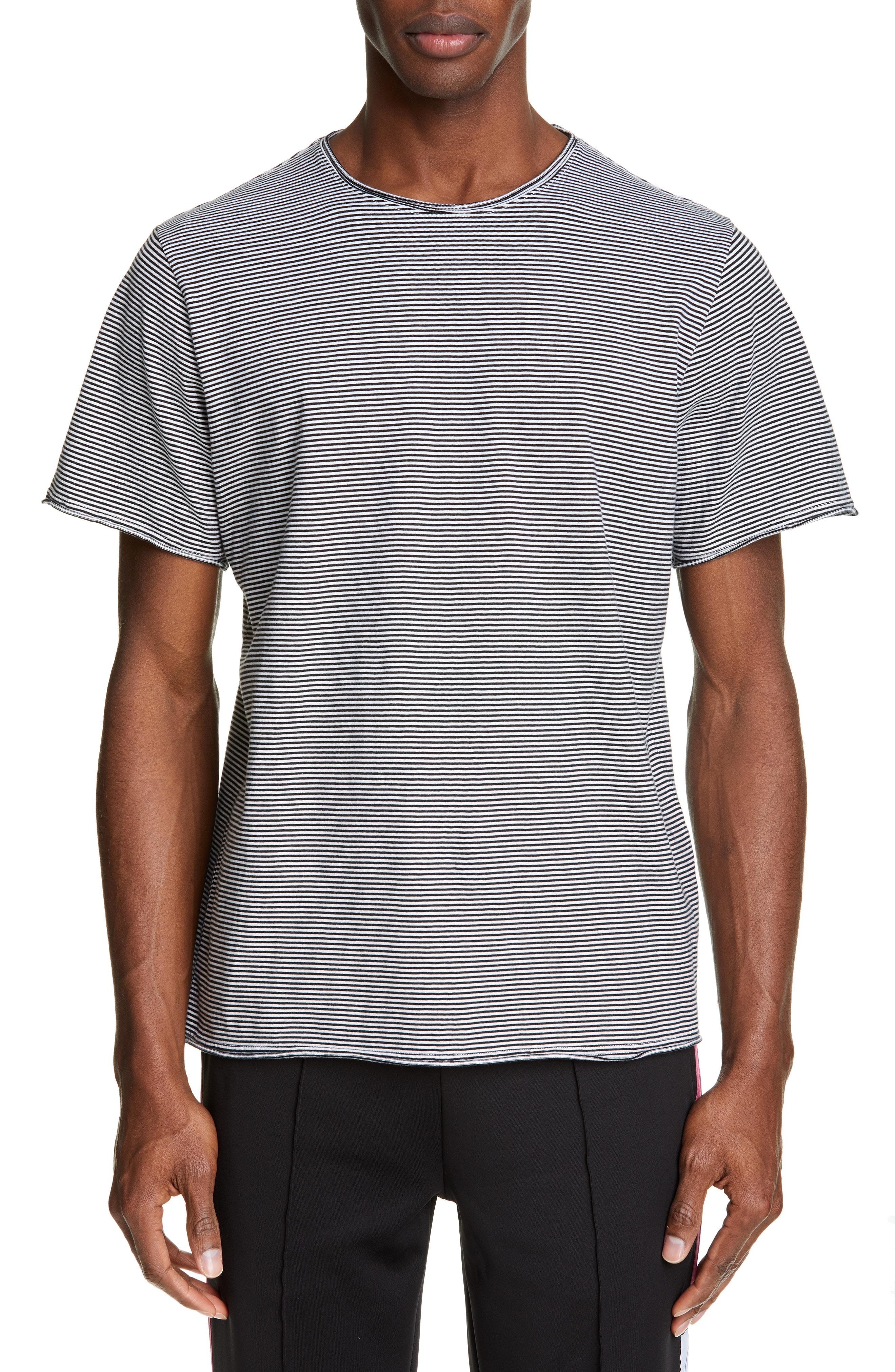 1fe7a3c31ac6 Lyst - Ovadia And Sons Stripe Raw Edge T-shirt in Gray for Men